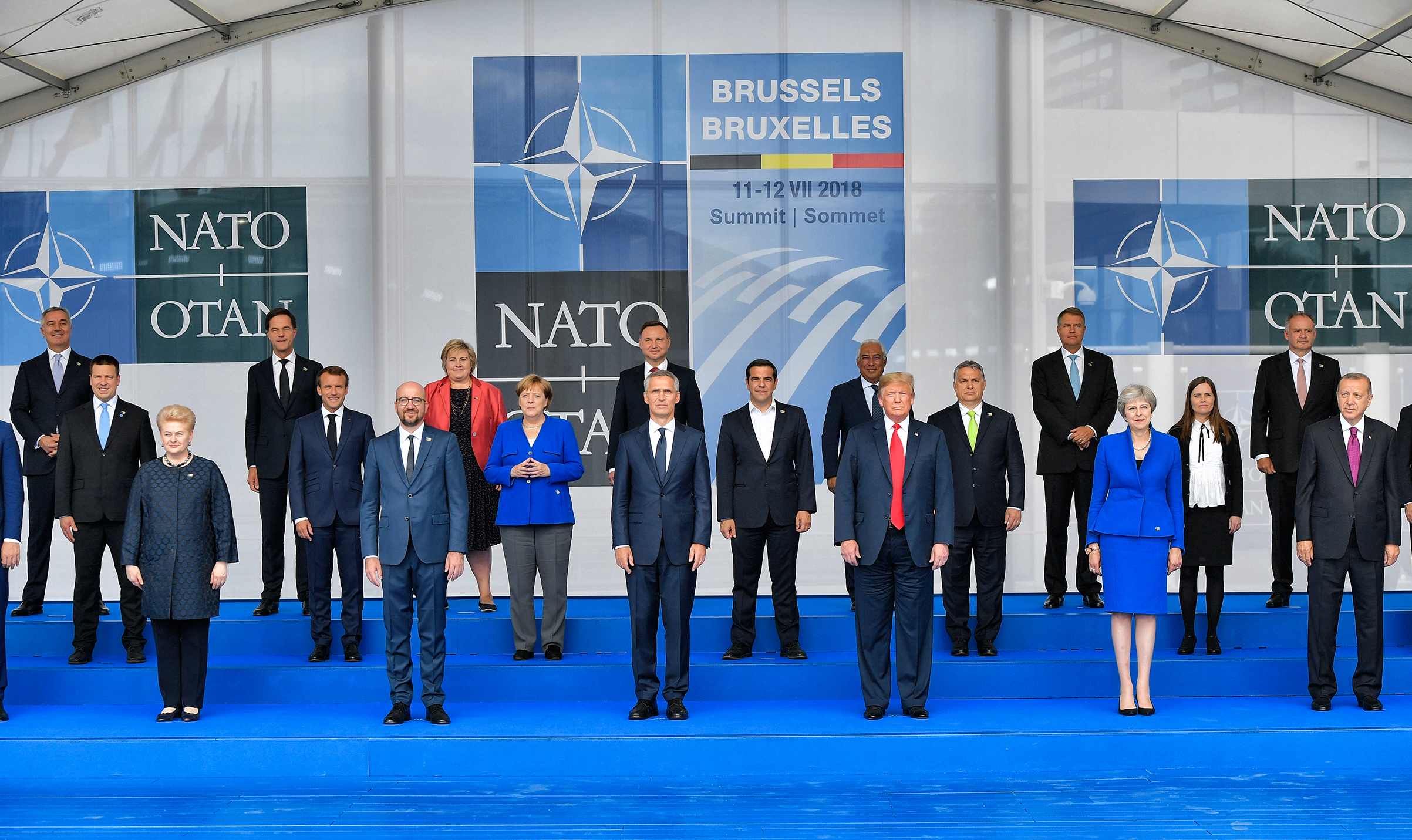 Leaders of the NATO member nations pose together at the Brussels summit in July