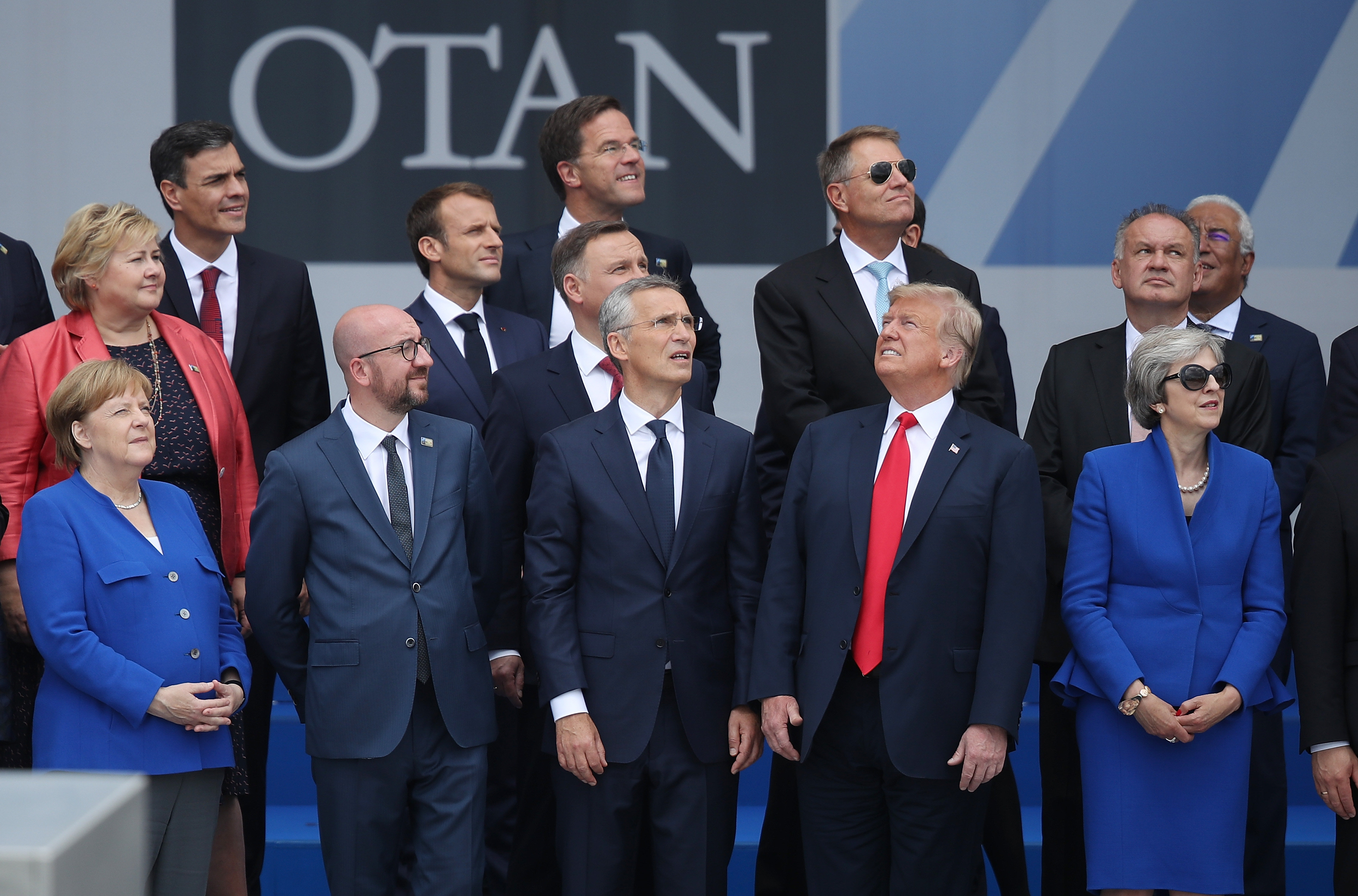 (From L to R, first row) German Chancellor Angela Merkel, Belgian Prime Minister Charles Michel, NATO Secretary General Jens Stoltenberg, U.S. President Donald Trump and British Prime Minister Theresa May attend the opening ceremony at the 2018 NATO Summit at NATO headquarters in Brussels, Belgium on July 11, 2018.