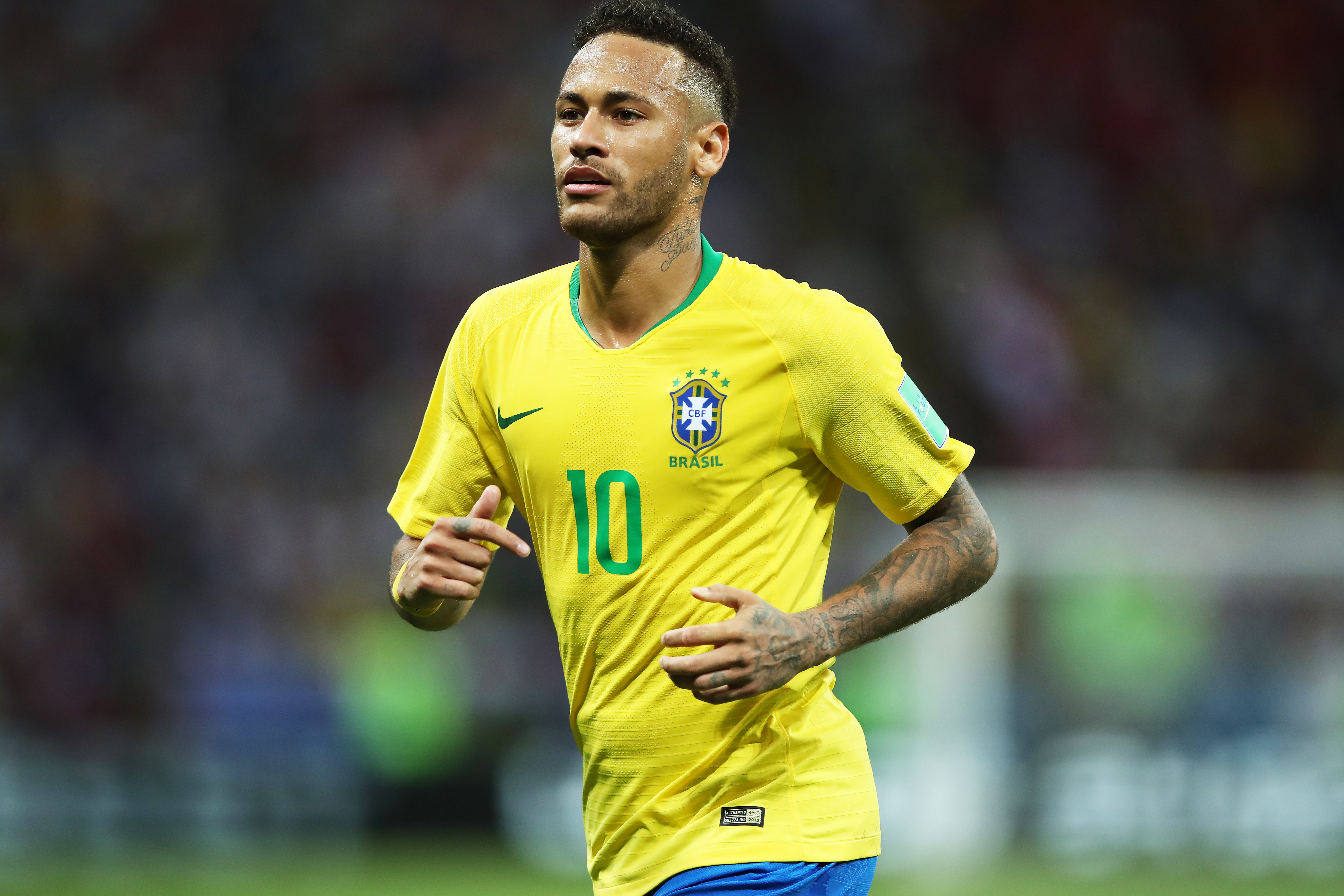 Neymar of Brazil is seen during the 2018 FIFA World Cup Russia Quarter Final match between Winner Game 53 and Winner Game 54 at Kazan Arena on July 6, 2018 in Kazan, Russia.