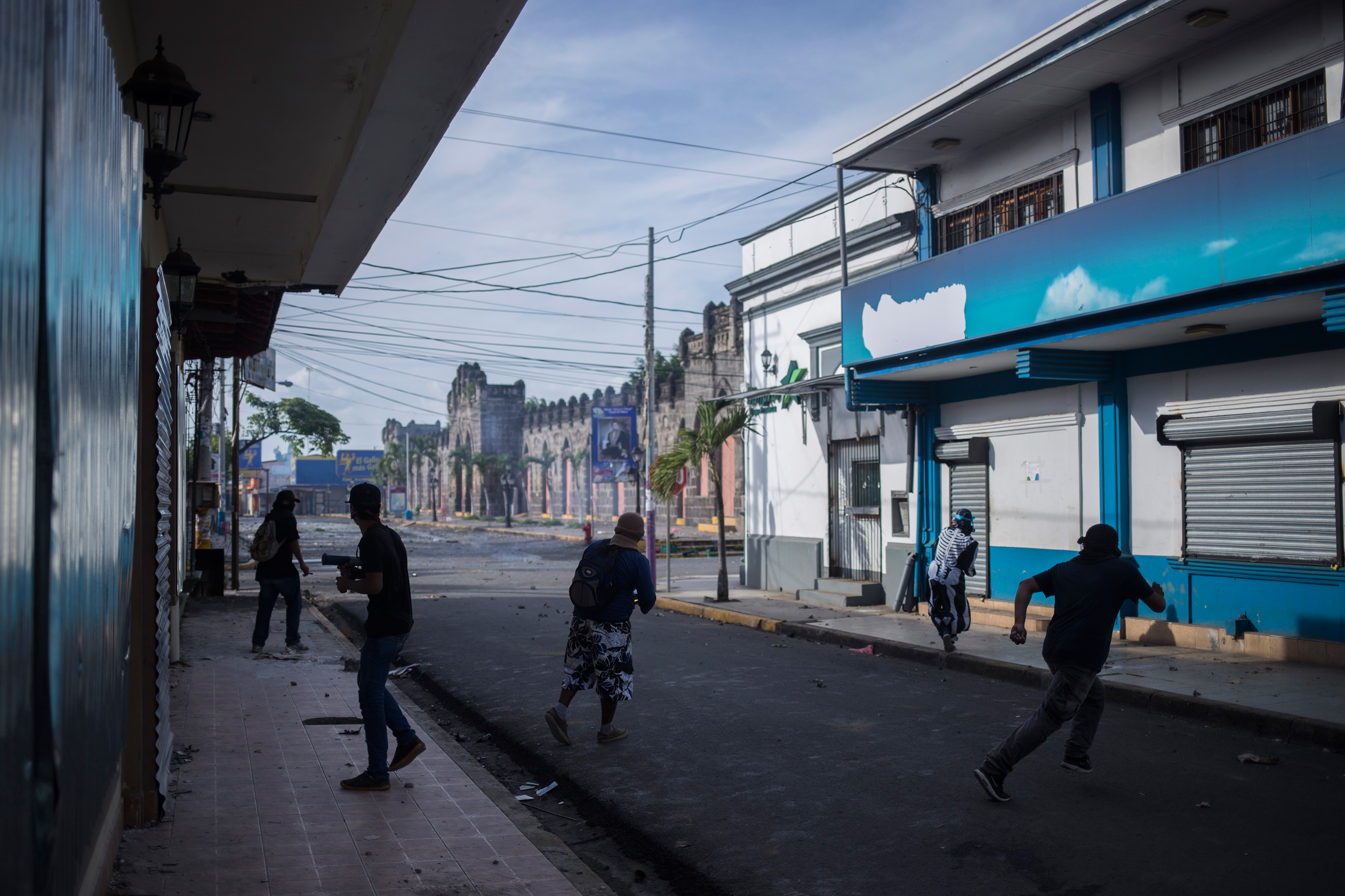 Protesters clash with police during protests in Masaya, southeast of Managua, on June 2.