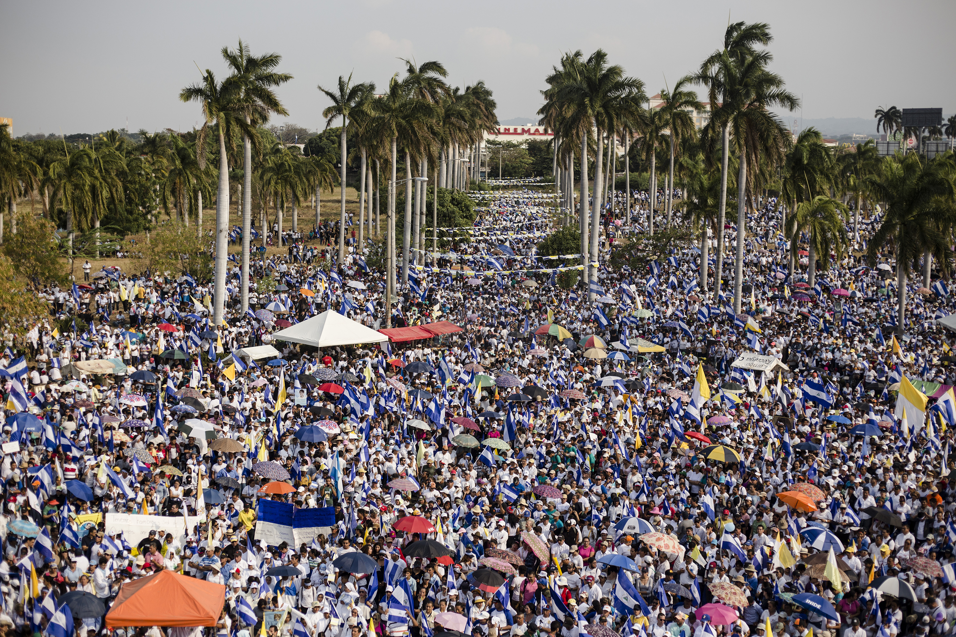 Thousands of people participate in a Catholic Church-organized rally in Managua on April 29.