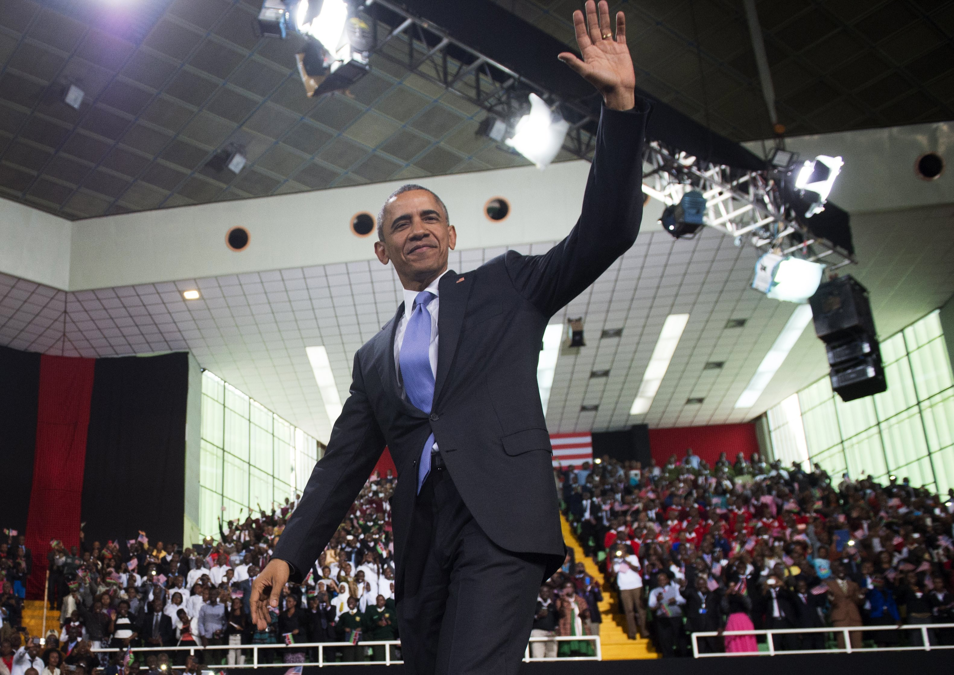 US President Barack Obama arrives to speak at Safaricom Indoor Arena in Nairobi on July 26, 2015, during a two-day landmark visit to Kenya