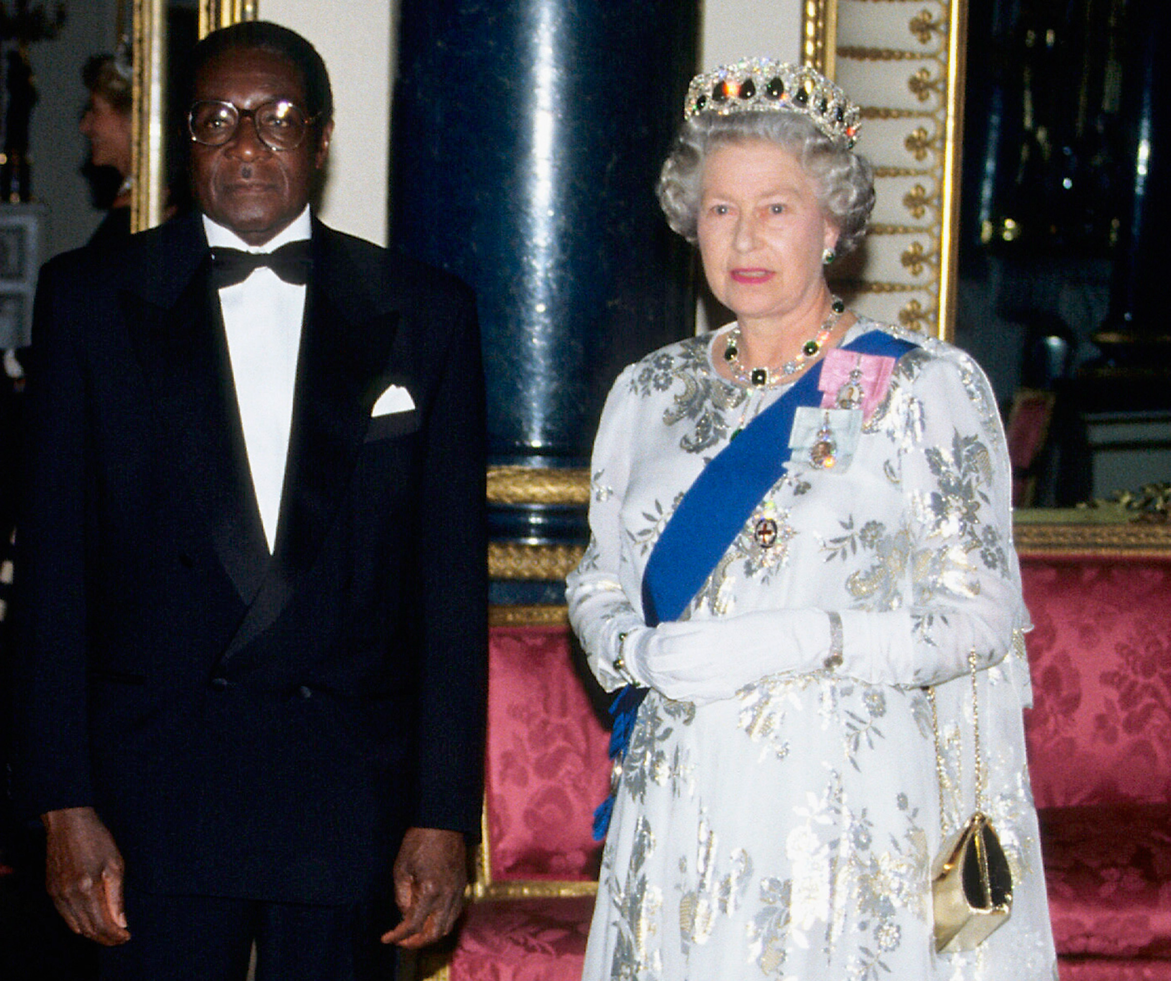 President Robert Mugabe of Zimbabwe and Queen Elizabeth ll at Buckingham Palace, London, during his state visit in May 1994.