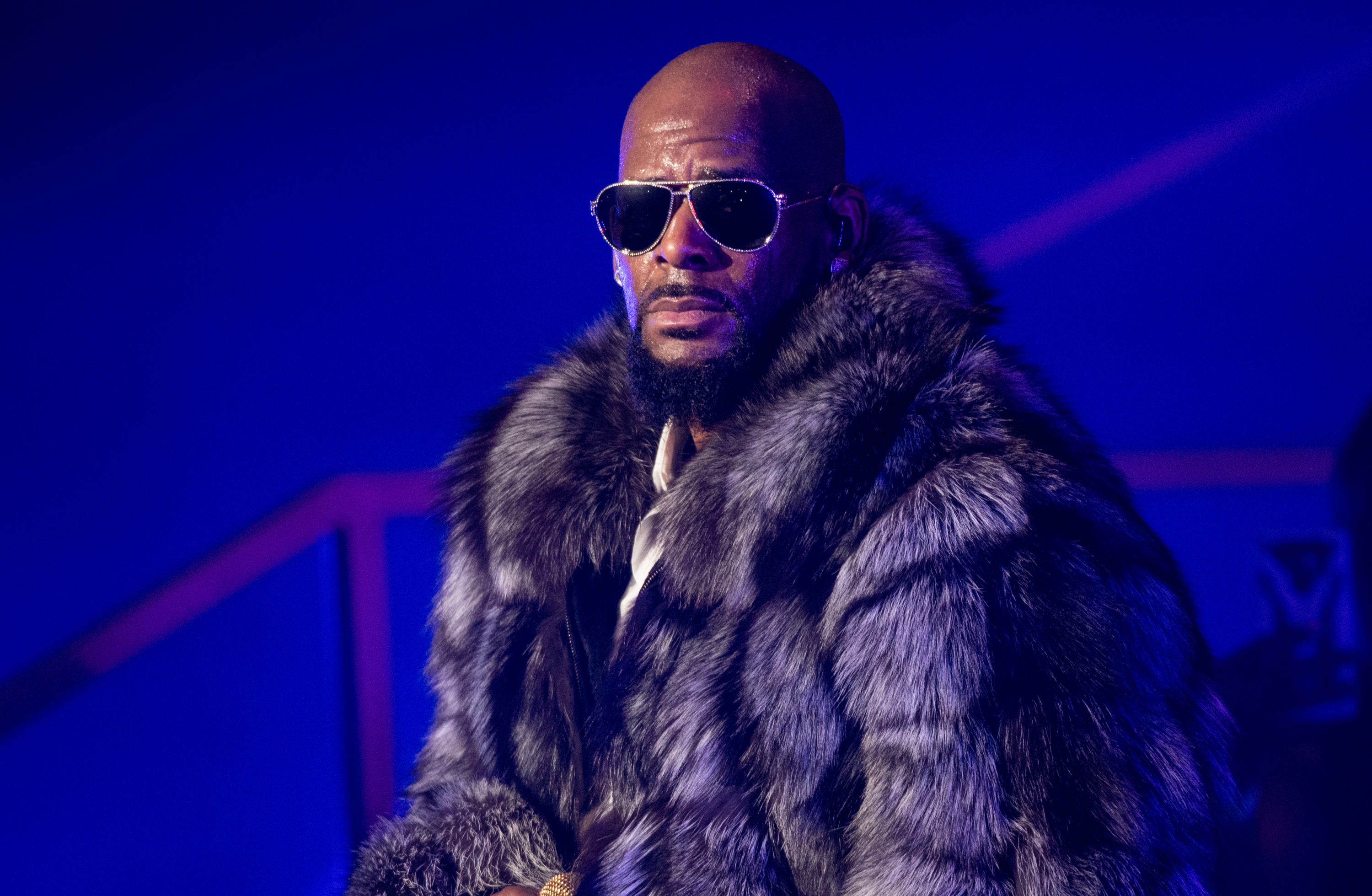 Singer R. Kelly performs in concert during the '12 Nights Of Christmas' tour at Kings Theatre on December 17, 2016 in the Brooklyn borough New York City.