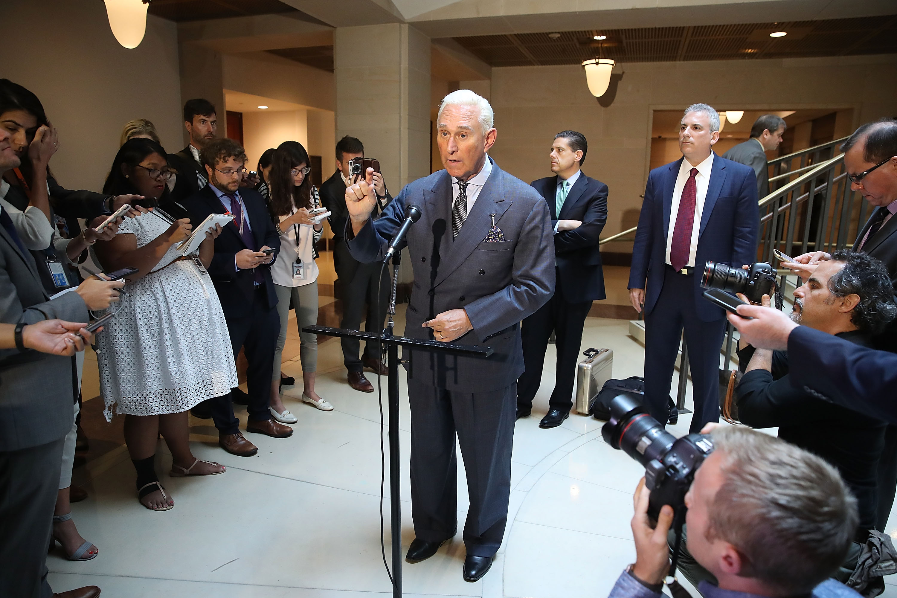 Roger Stone, former confidant to President Trump, speaks to the media after appearing before the House Intelligence Committee during a closed door hearing on September 26, 2017.