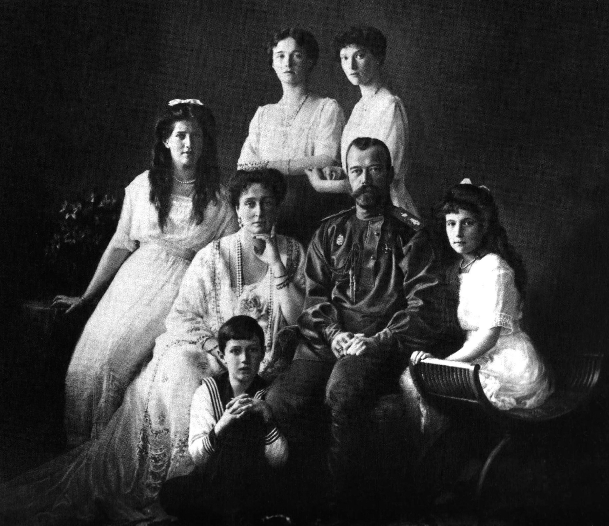 The Romanovs (ruling family of Russia) in 1913. Nicholas II (1868-1918), Tsar of Russia 1894-1917, with his wife and children.