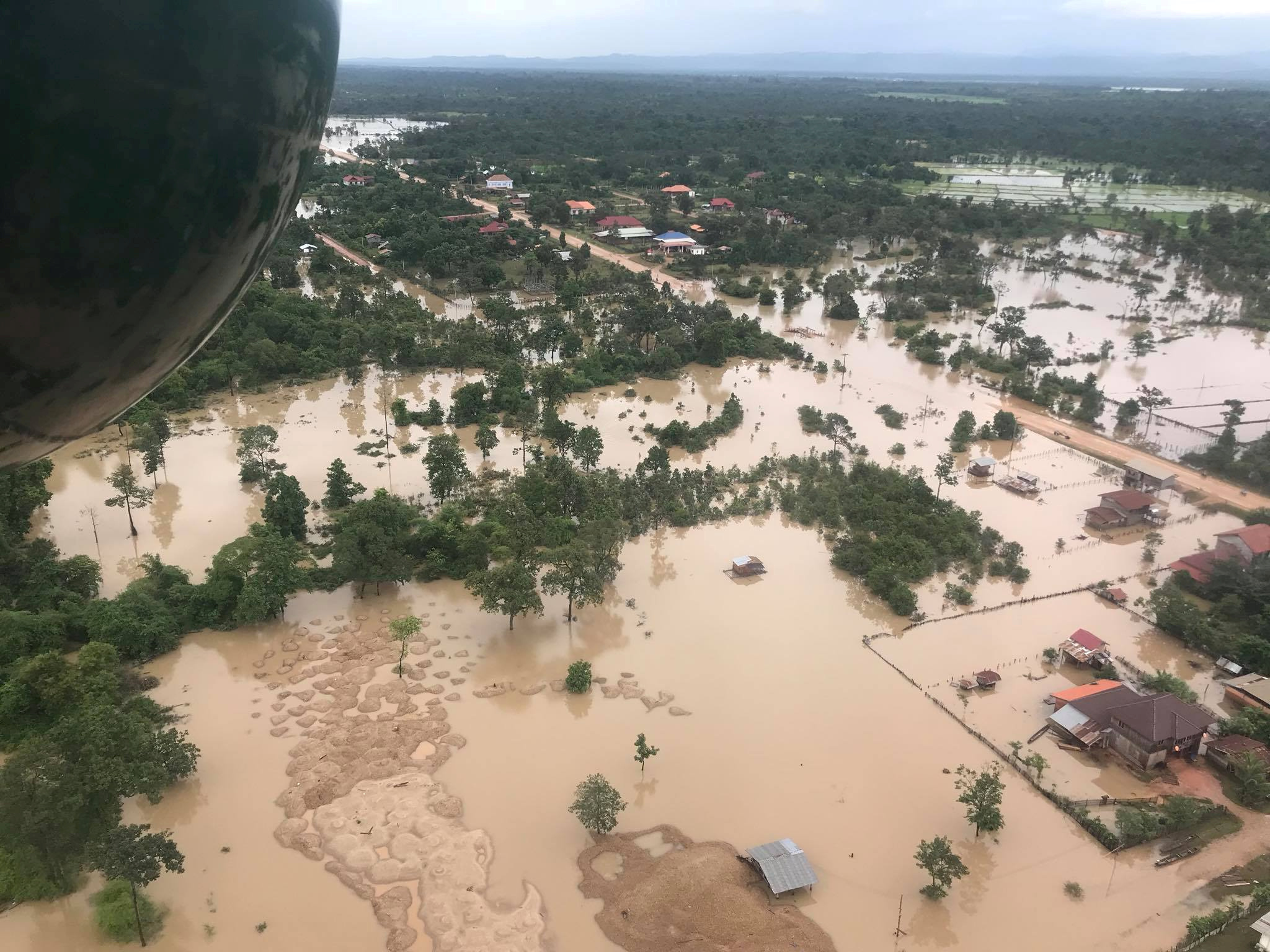 Aerial view shows the flooded area after a dam collapsed in Attapeu province, Laos July 25, 2018 in this image obtained from social media.