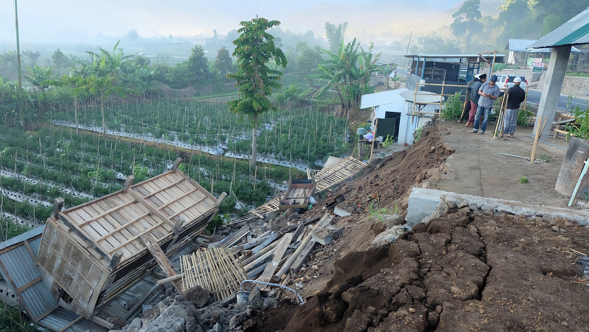 Damage is seen following an earthquake in Lombok, Indonesia on July 29, 2018.