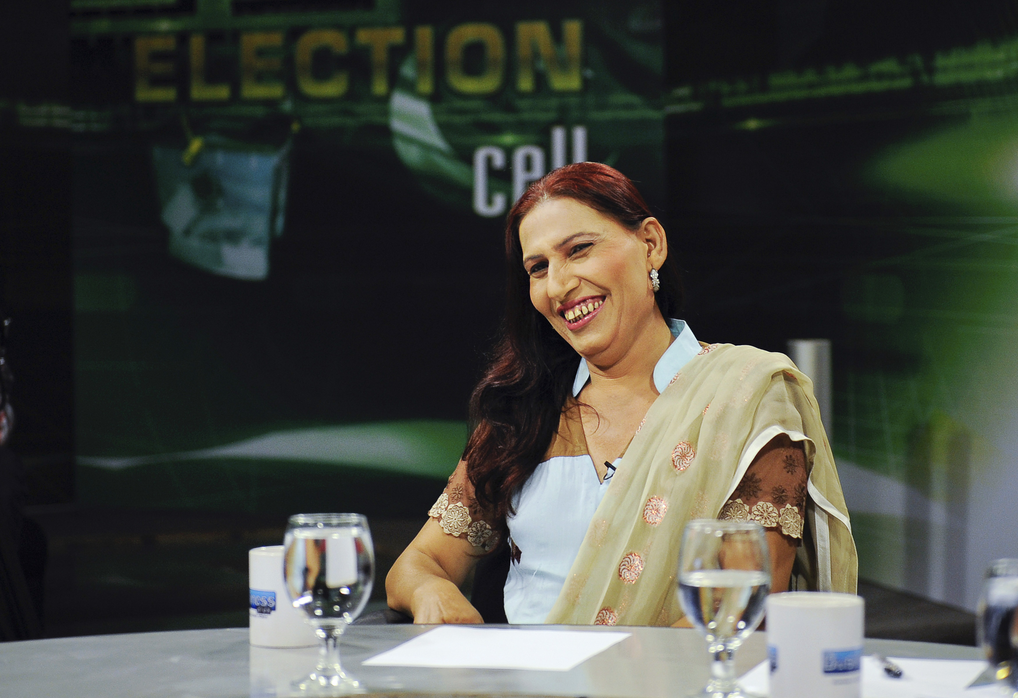 Bindiya Rana, a transgender independent candidate for the elections, during a pre-election analysis program in Karachi April 23, 2013.
