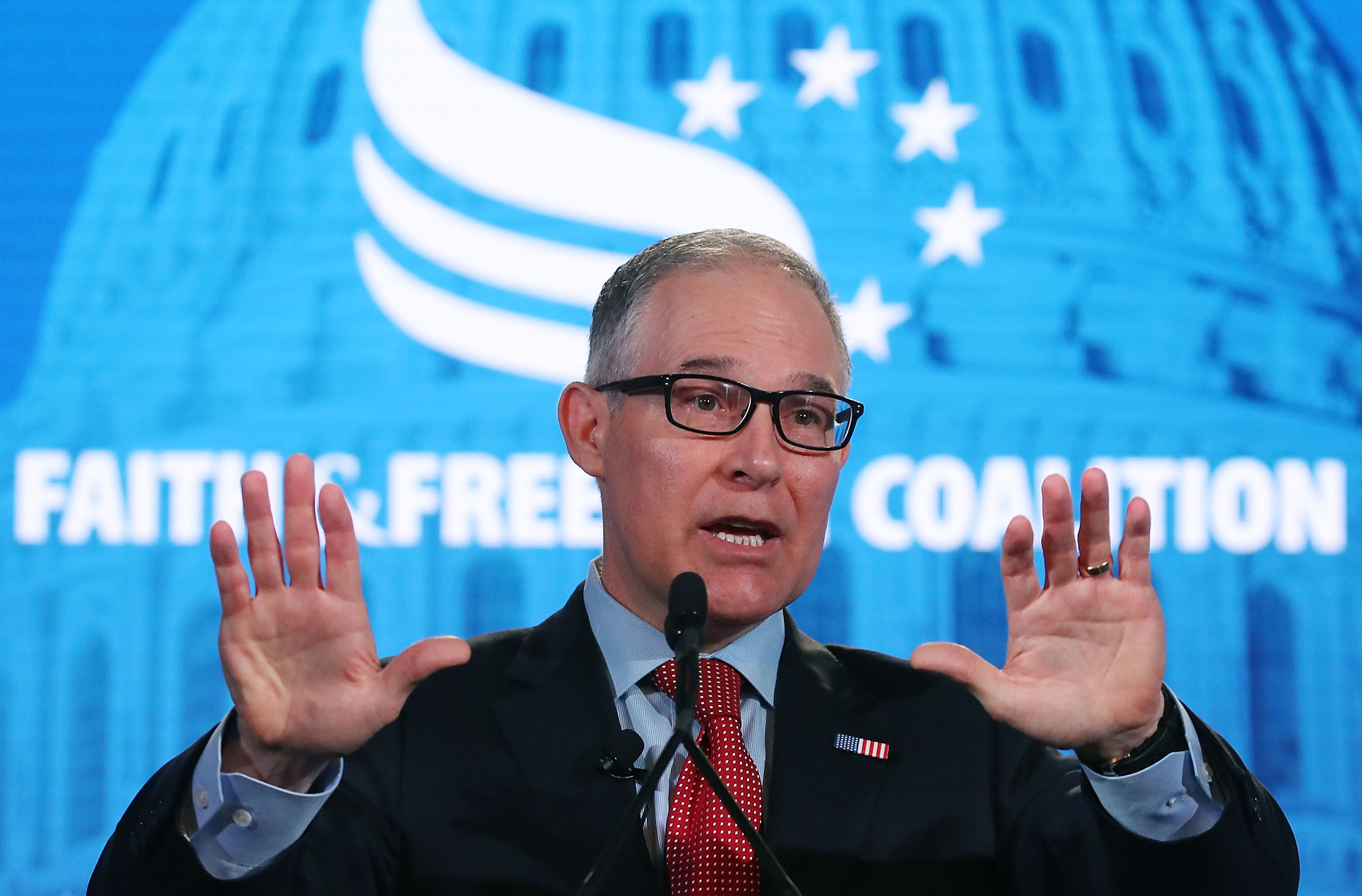 EPA Administrator Scott Pruitt speaks at the Faith and Freedom Coalition Road to Majority Policy Conference, at the Omni Shoreham Hotel, on June 8 in Washington, DC.