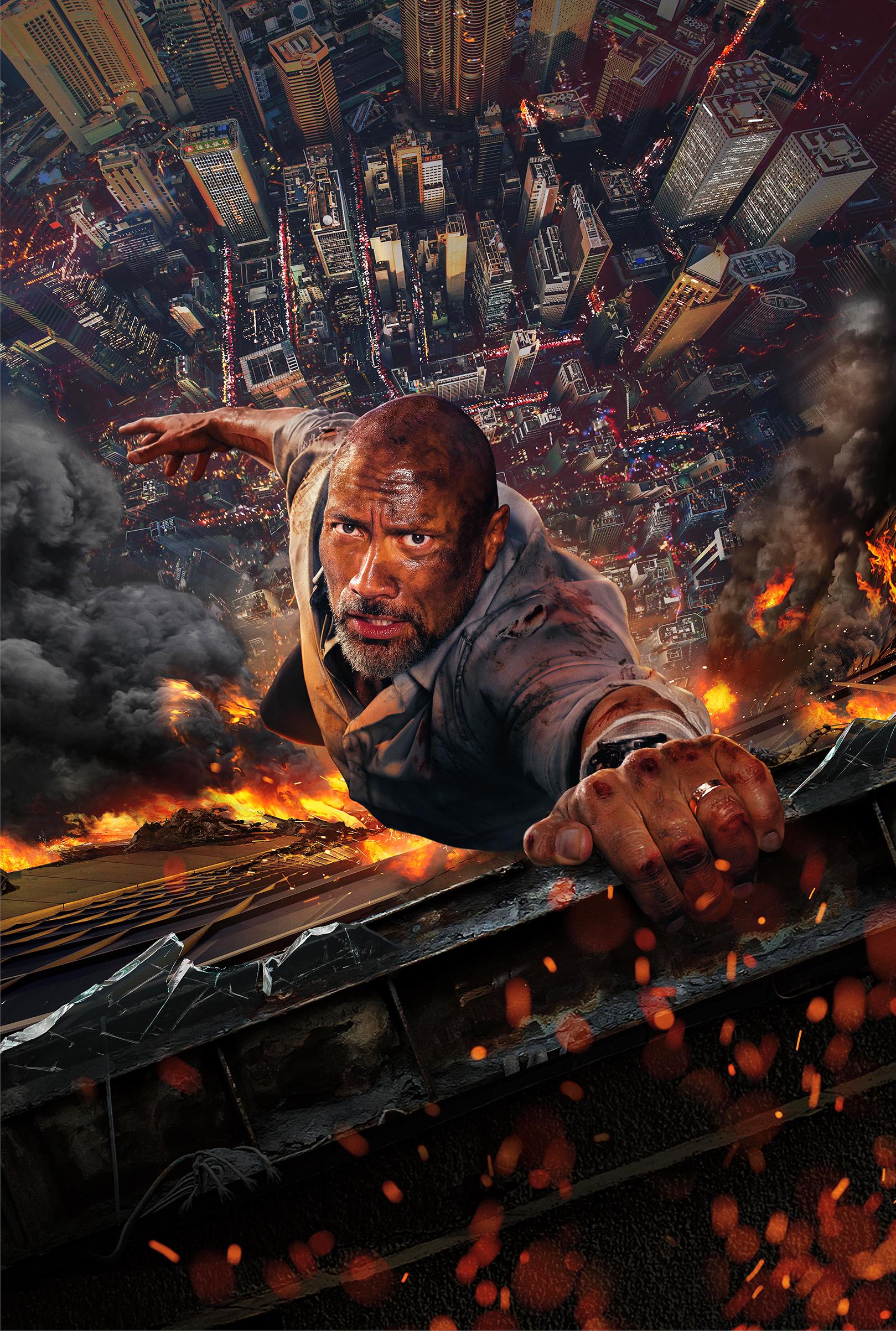 Johnson on fire—almost—in Skyscraper