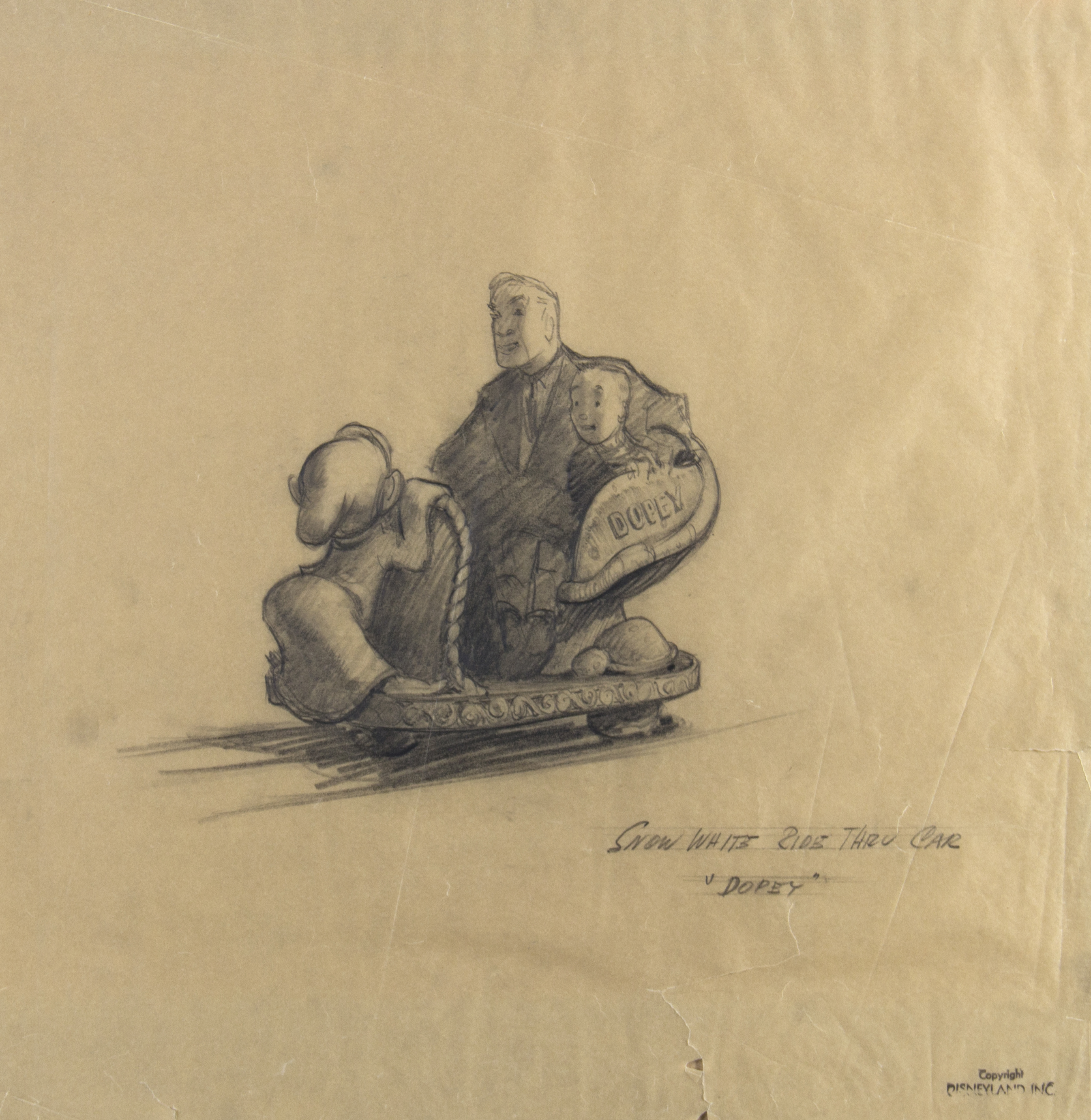 Snow White's Scary Adventures concept drawing, ca. 1954, by Bruce Bushman. This concept was used in early stages of the design of the attraction.