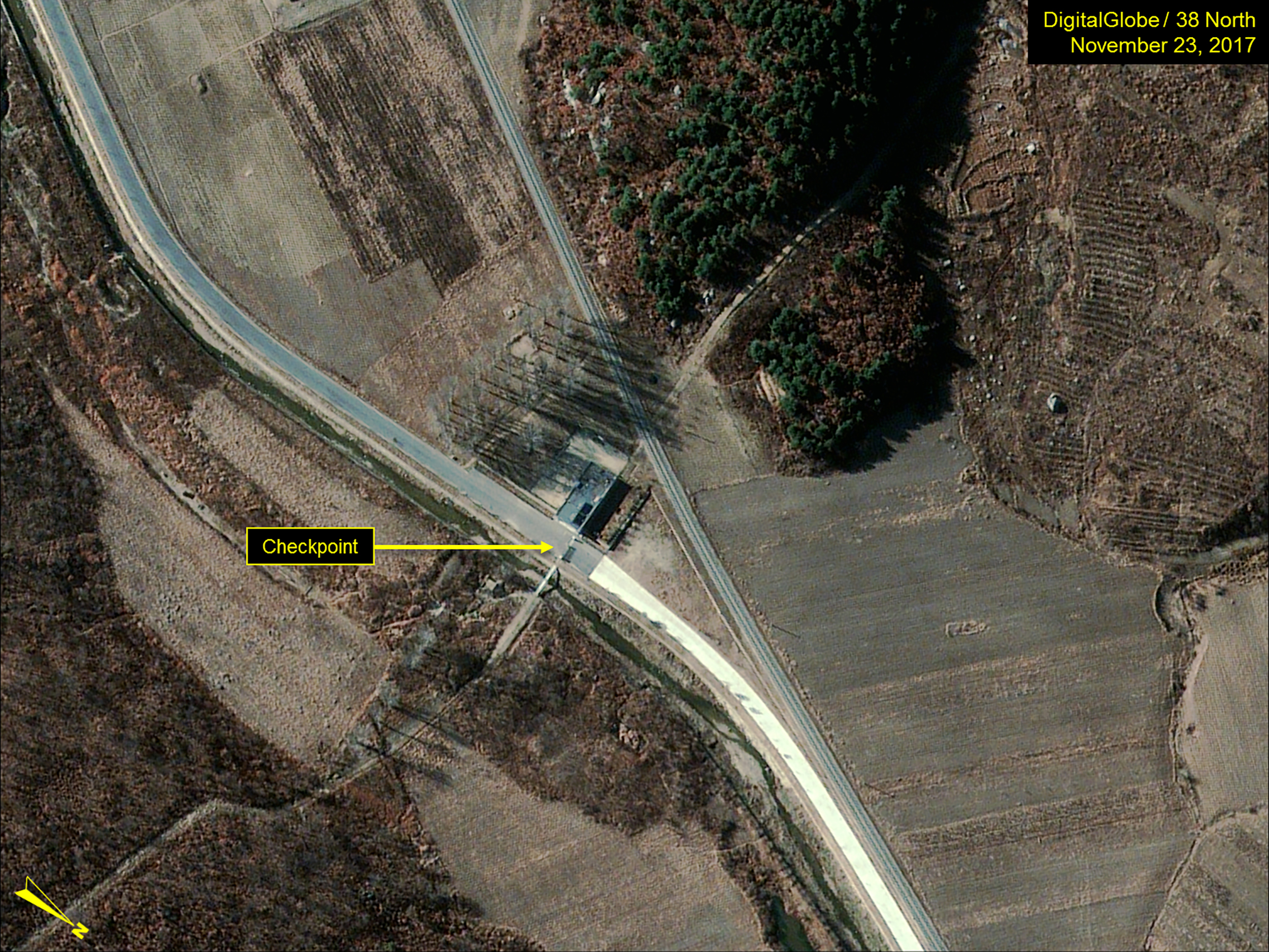 Close-up of the main entrance and checkpoint of the Sohae Satellite launch pad in North Korea on November 23, 2017.
