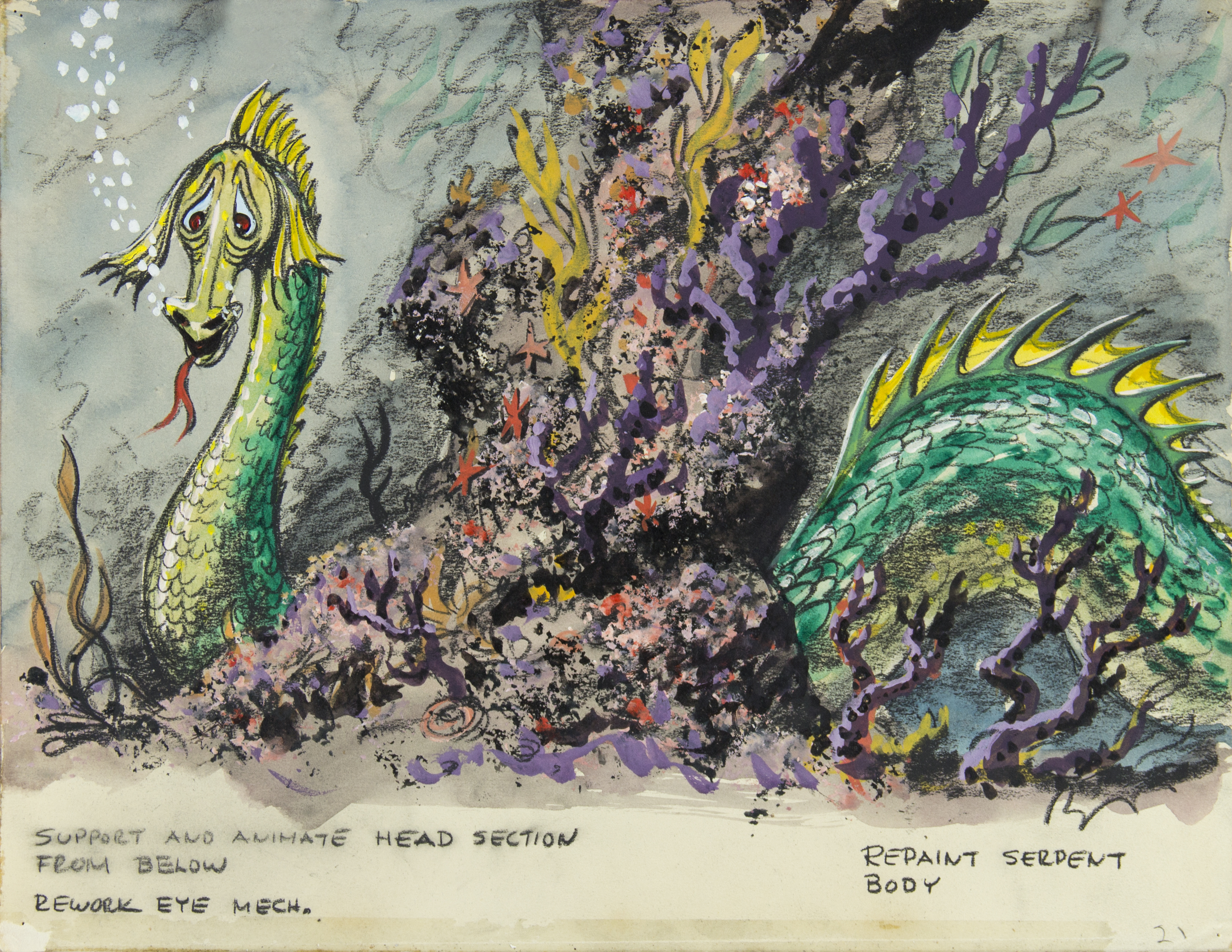 Submarine Voyage Sea Serpent concept painting, gouache on board, c. 1958.