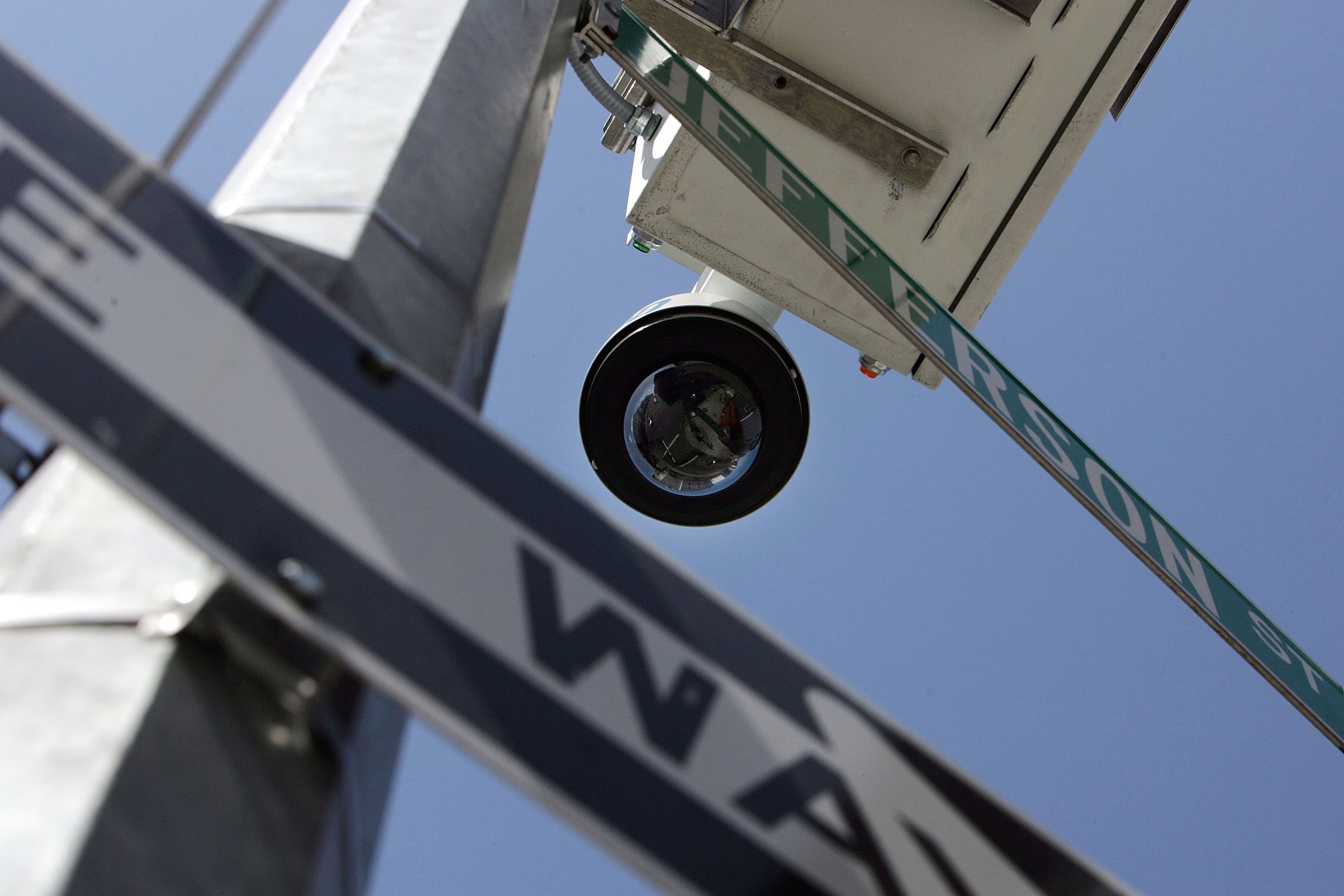 A New York City Police Department wireless video recorder attached to a lamp post is seen on Knickerbocker Avenue April 17, 2006, in the Brooklyn borough of New York City. The set of cameras were the first installation of 500 high-tech security cameras around the city.