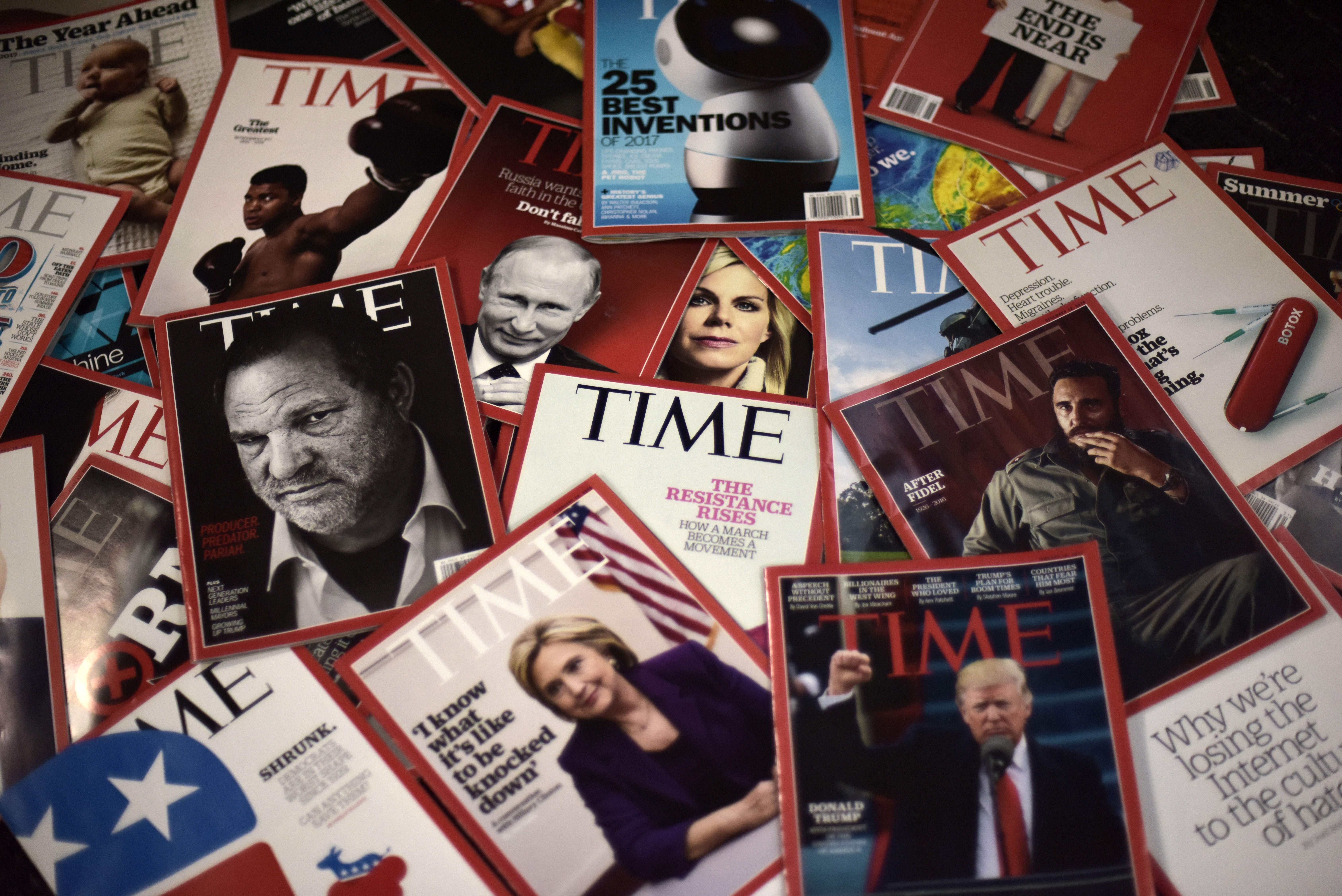 Time magazine copies are displayed on a table in Washington on November 27, 2017.