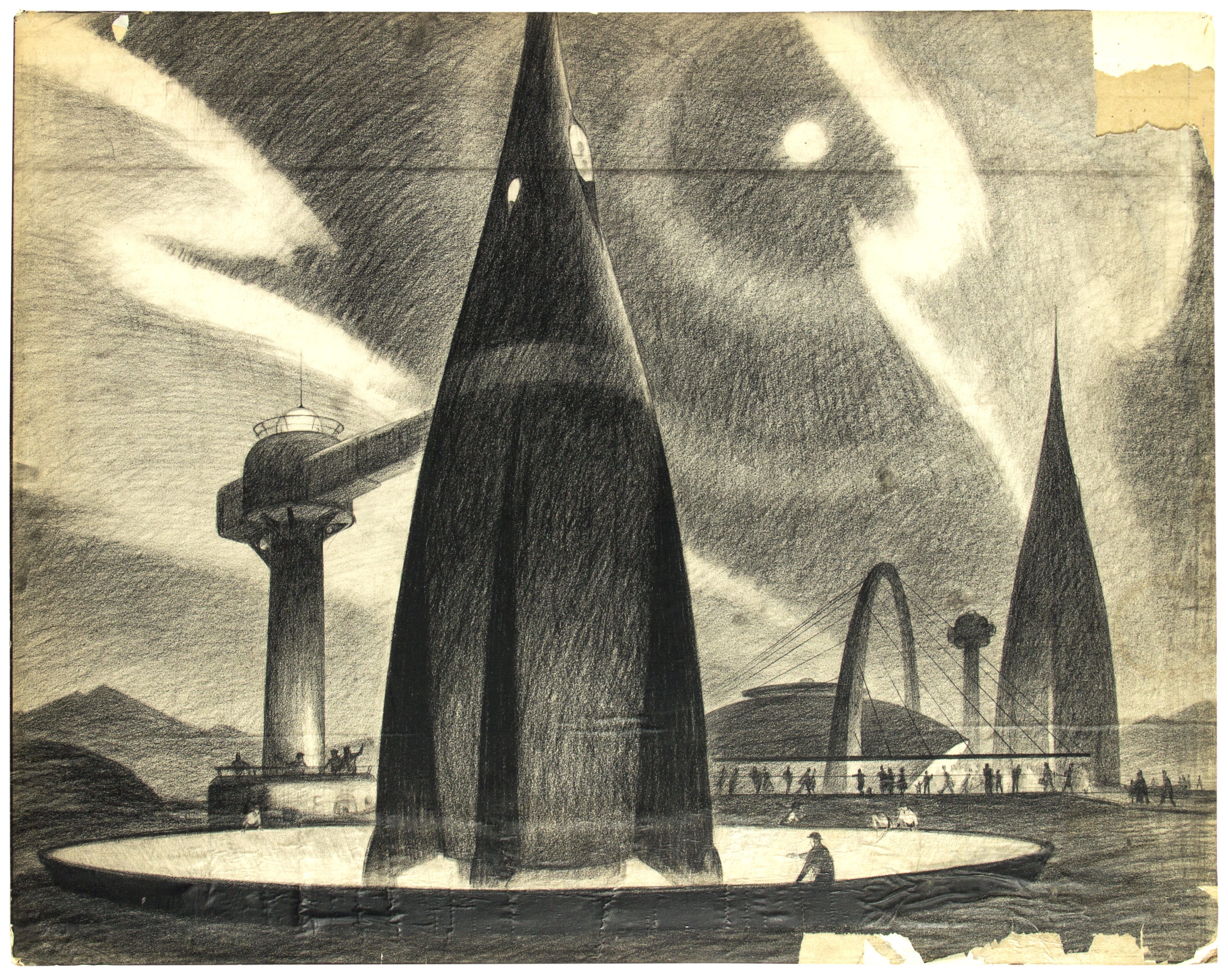 Tomorrowland original concept drawing, 1954, by Imagineer Bruce Bushman. This drawing was shown on the 'Disneyland' TV show to explain what the park would look like.