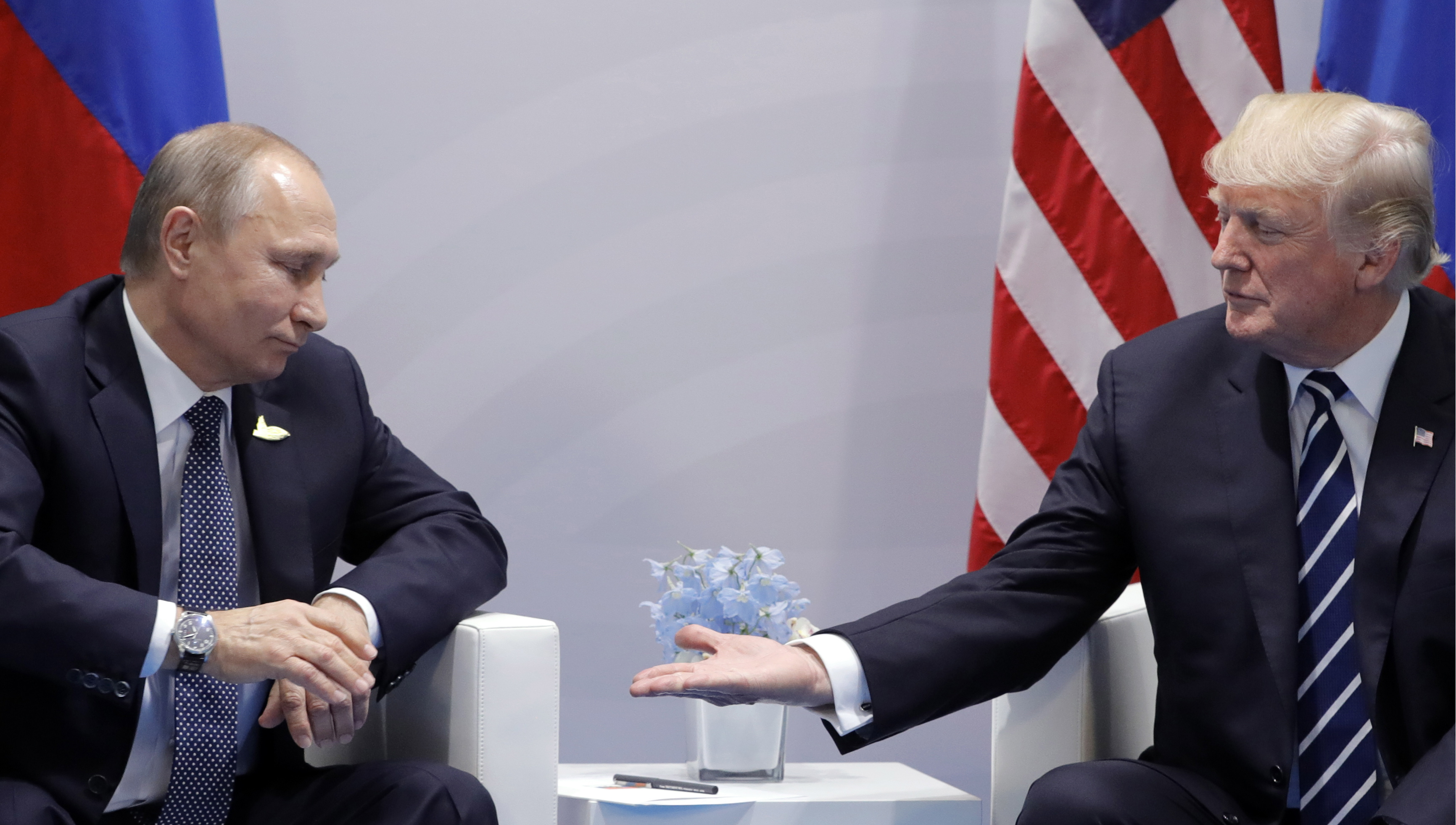 Russia's President Vladimir Putin (L) and U.S. President Donald Trump hold a bilateral meeting on the sidelines of the G20 summit in Hamburg.