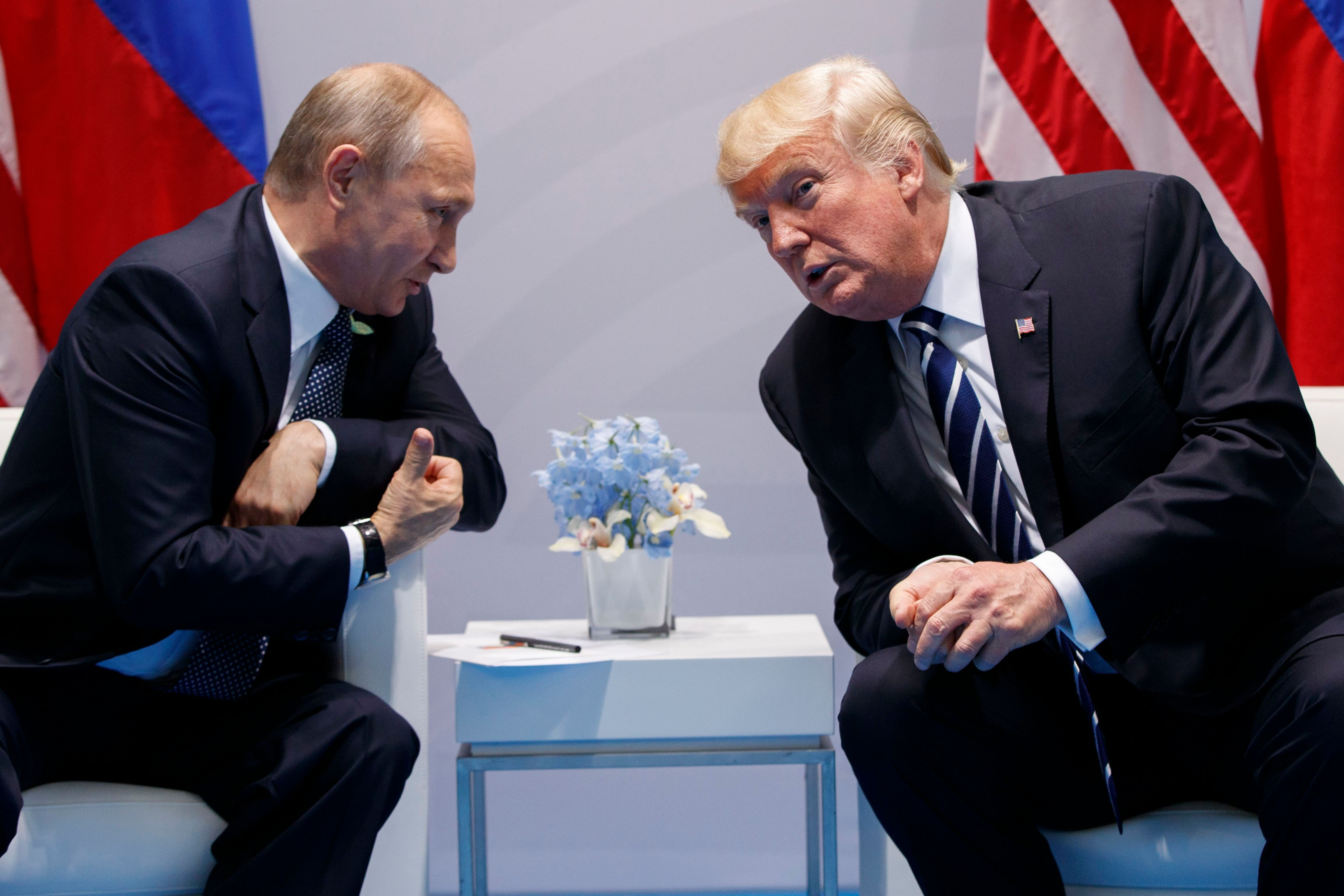 Donald Trump, Vladimir Putin President Donald Trump speaks during a meeting with Russian President Vladimir Putin at the G20 Summit at the G20 Summit, in Hamburg, Germany on July 7, 2017.