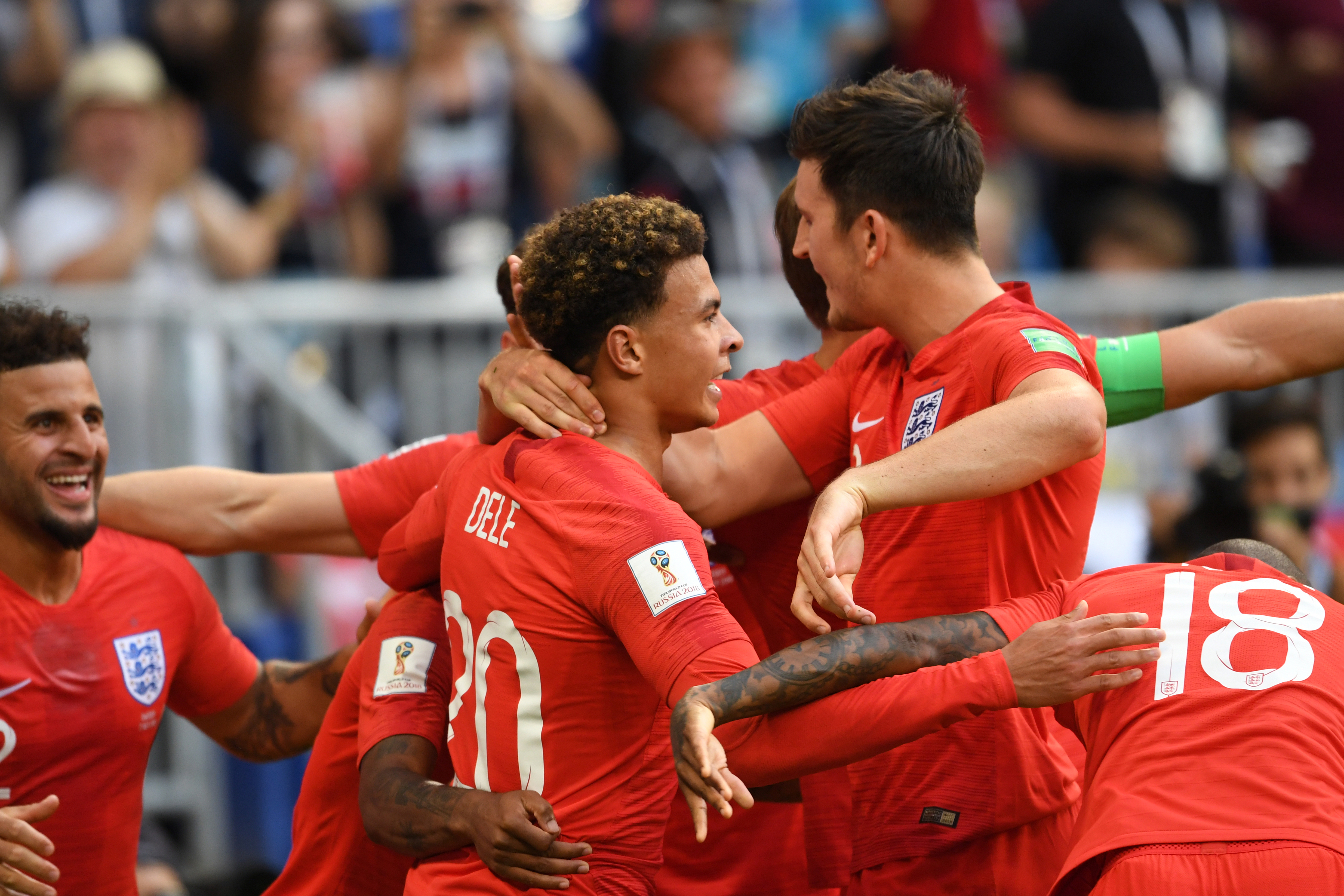Dele Alli of England celebrates scoring his side's second goal during the 2018 FIFA World Cup.