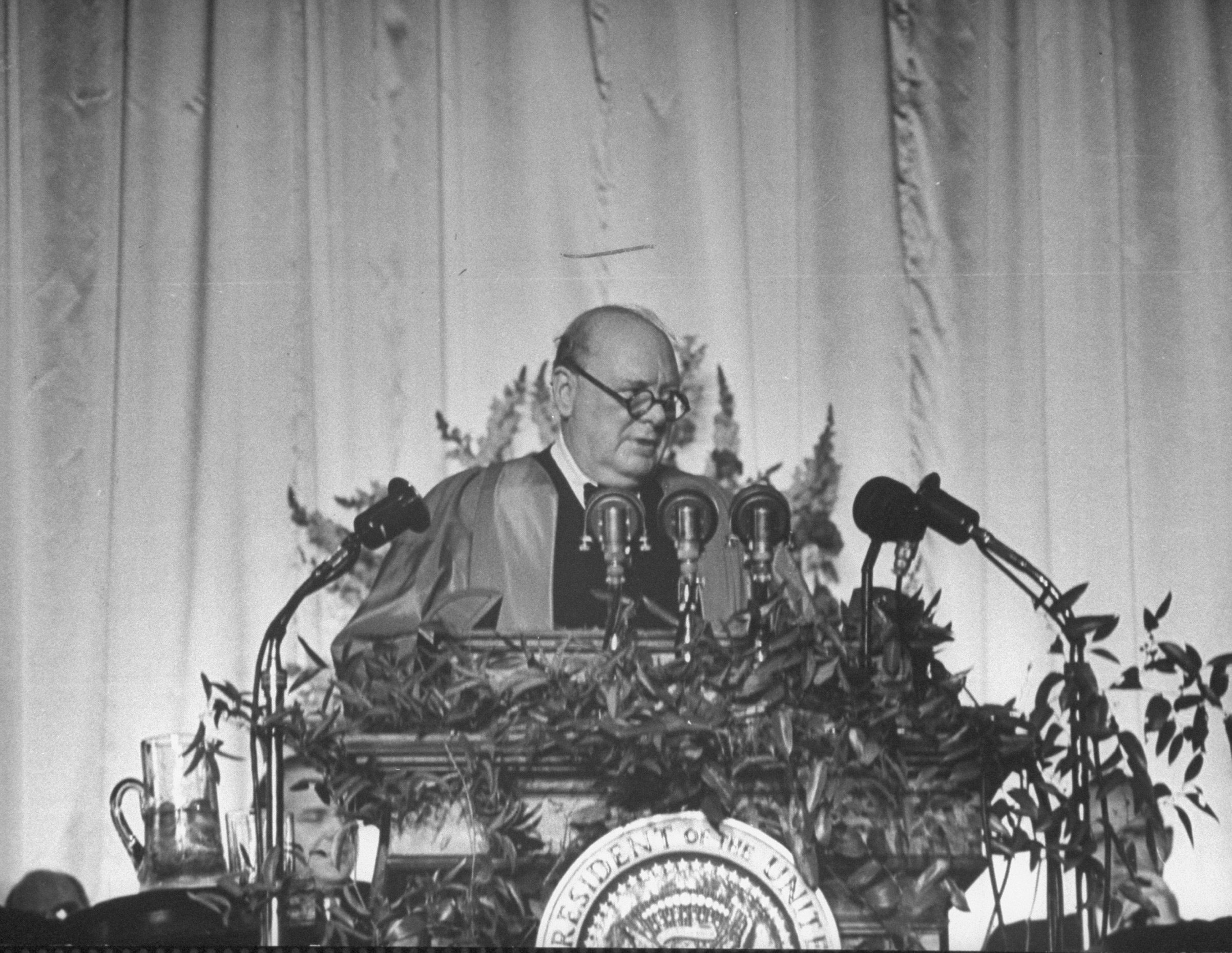 British Prime Minister Winston Churchill delivering the speech that popularized the term 'special relationship' at Westminster College in Fulton, Missouri, where he received an honorary degree on Mar. 5, 1946.