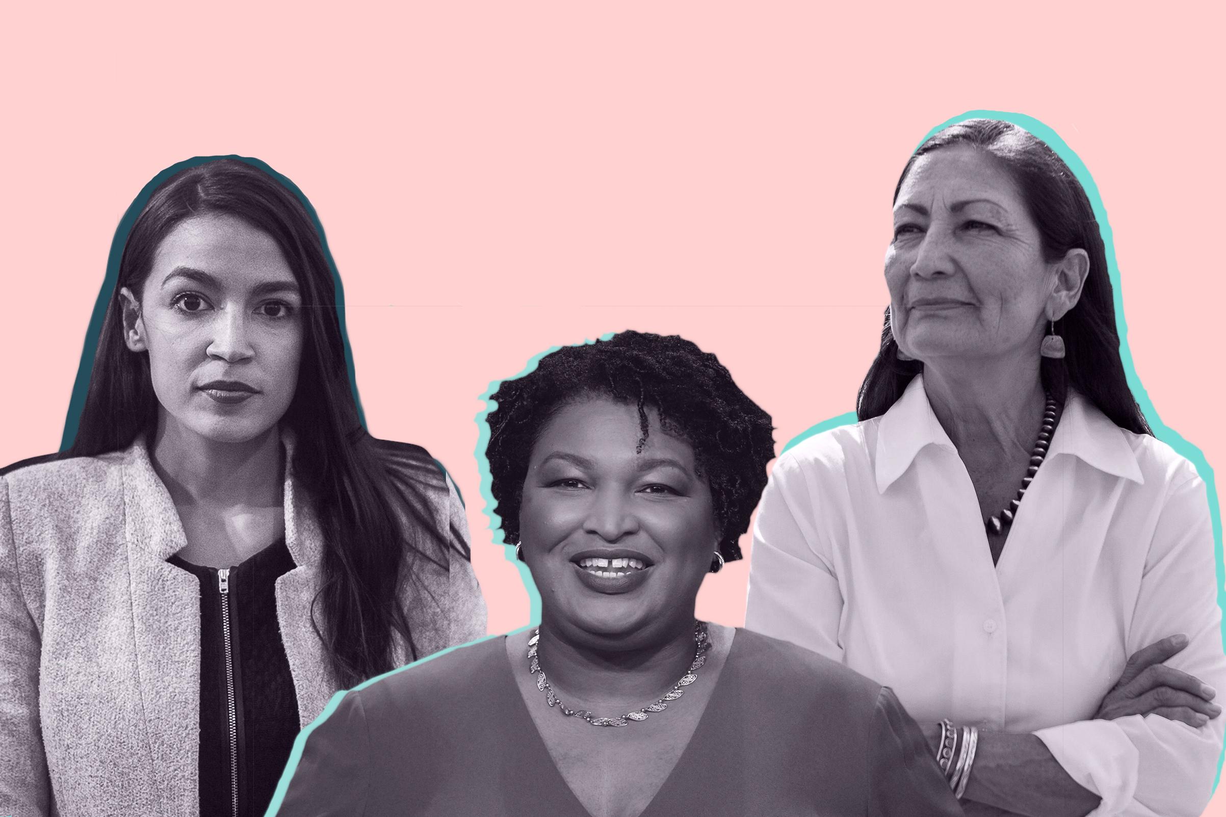 (L to R): Alexandria Ocasio-Cortez, Stacey Abrams, Debb Haaland