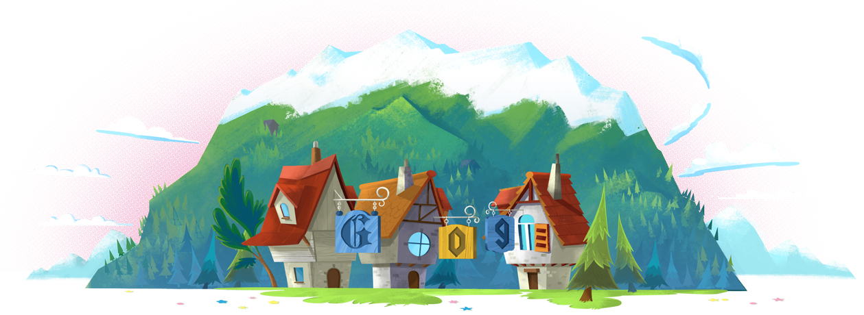 An illustration of Zugspitze, the highest mountain in Germany, for the Aug. 27, 2018 Google Doodle.