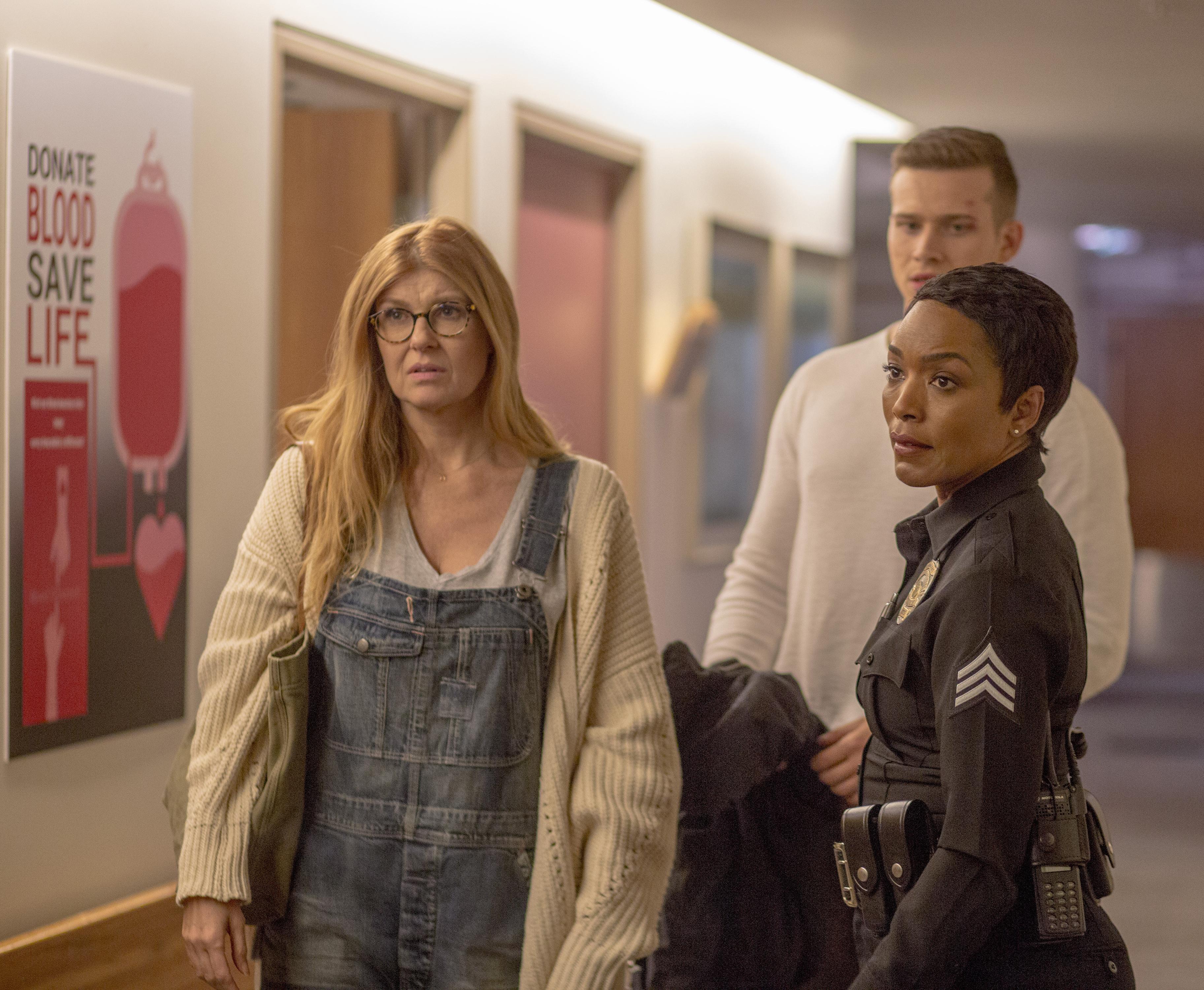 L-R: Connie Britton, Oliver Stark and Angela Bassett in the 9-1-1