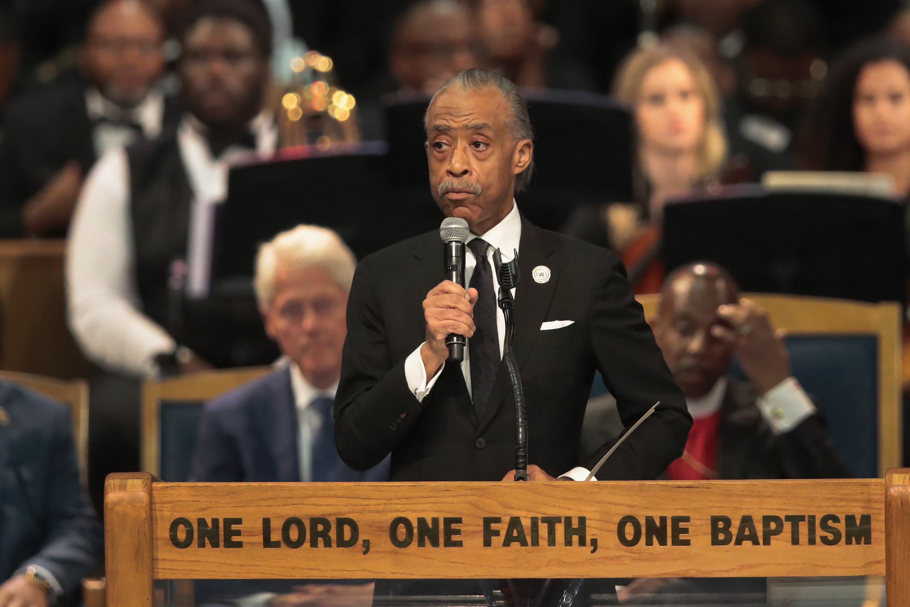 Rev. Al Sharpton speaks at the funeral for Aretha Franklin at the Greater Grace Temple on August 31, 2018 in Detroit, Michigan.
