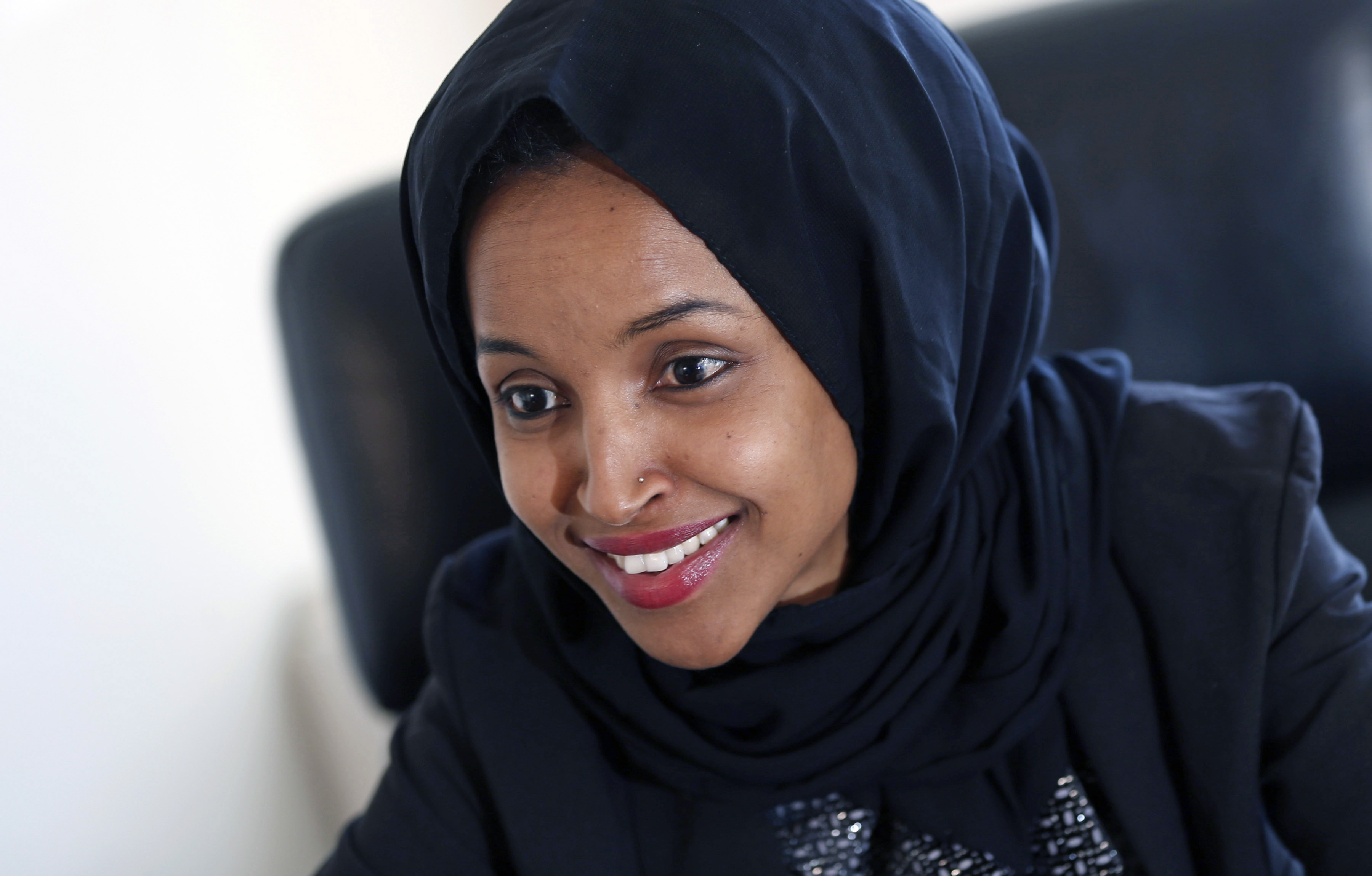 In this Jan. 5, 2017, file photo, state Rep. Ilhan Omar is interviewed in her office two days after the 2017 Legislature convened in St. Paul, Minn.