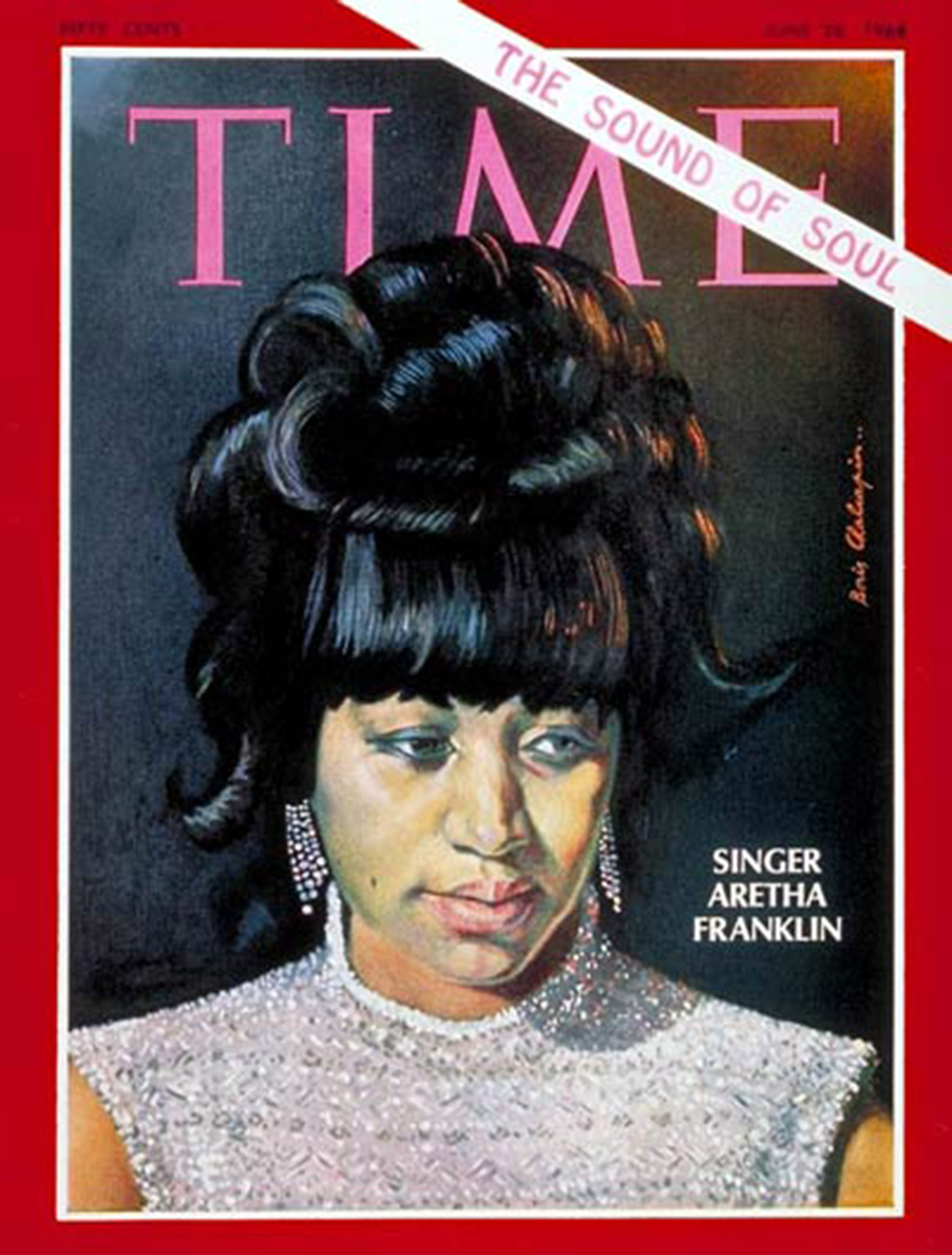 Aretha Franklin on the cover of the June 28, 1968, issue of TIME.