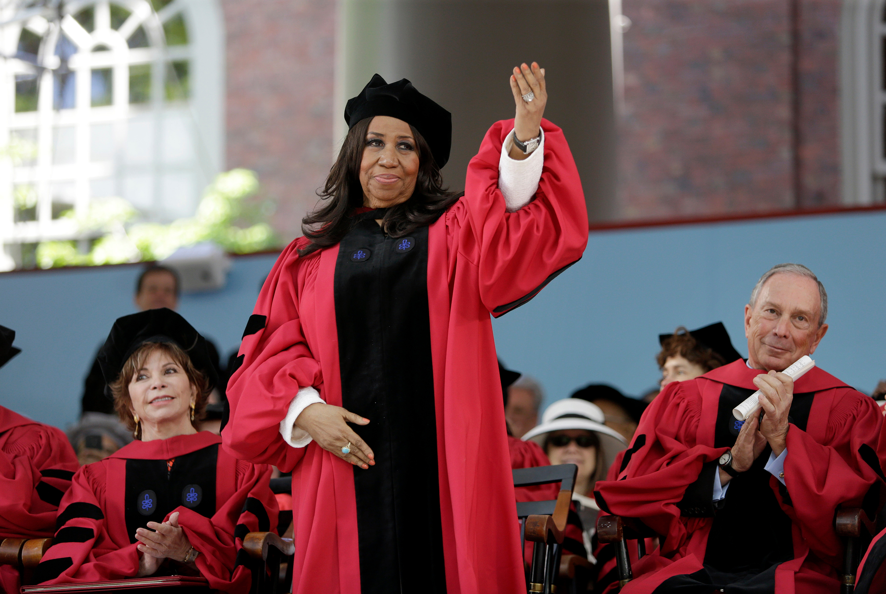 Aretha Franklin receives an honorary Doctor of Arts degree at the Harvard commencement ceremonies, in Cambridge, Mass. in May 2014.