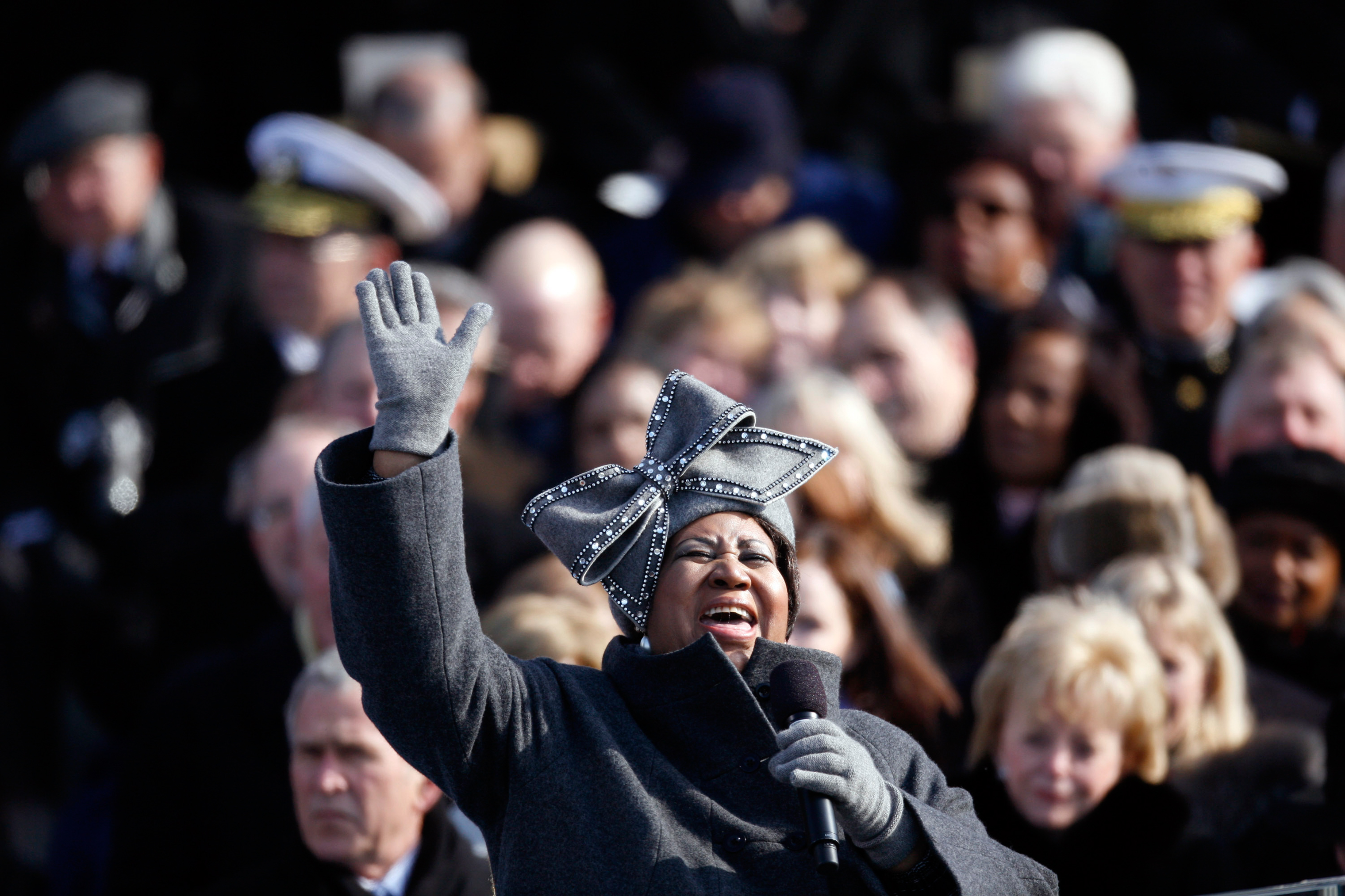 Aretha Franklin sings at the inauguration of President Barack Obama in Washington, D.C. on Jan. 20, 2009.
