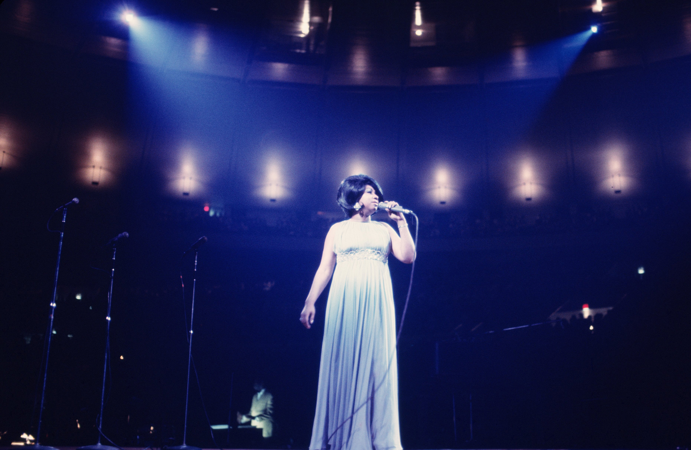 Singer Aretha Franklin performs during a concert at Madison Square Garden on June 28, 1968 in New York City, New York. (Photo by Walter Iooss Jr./Getty Images)