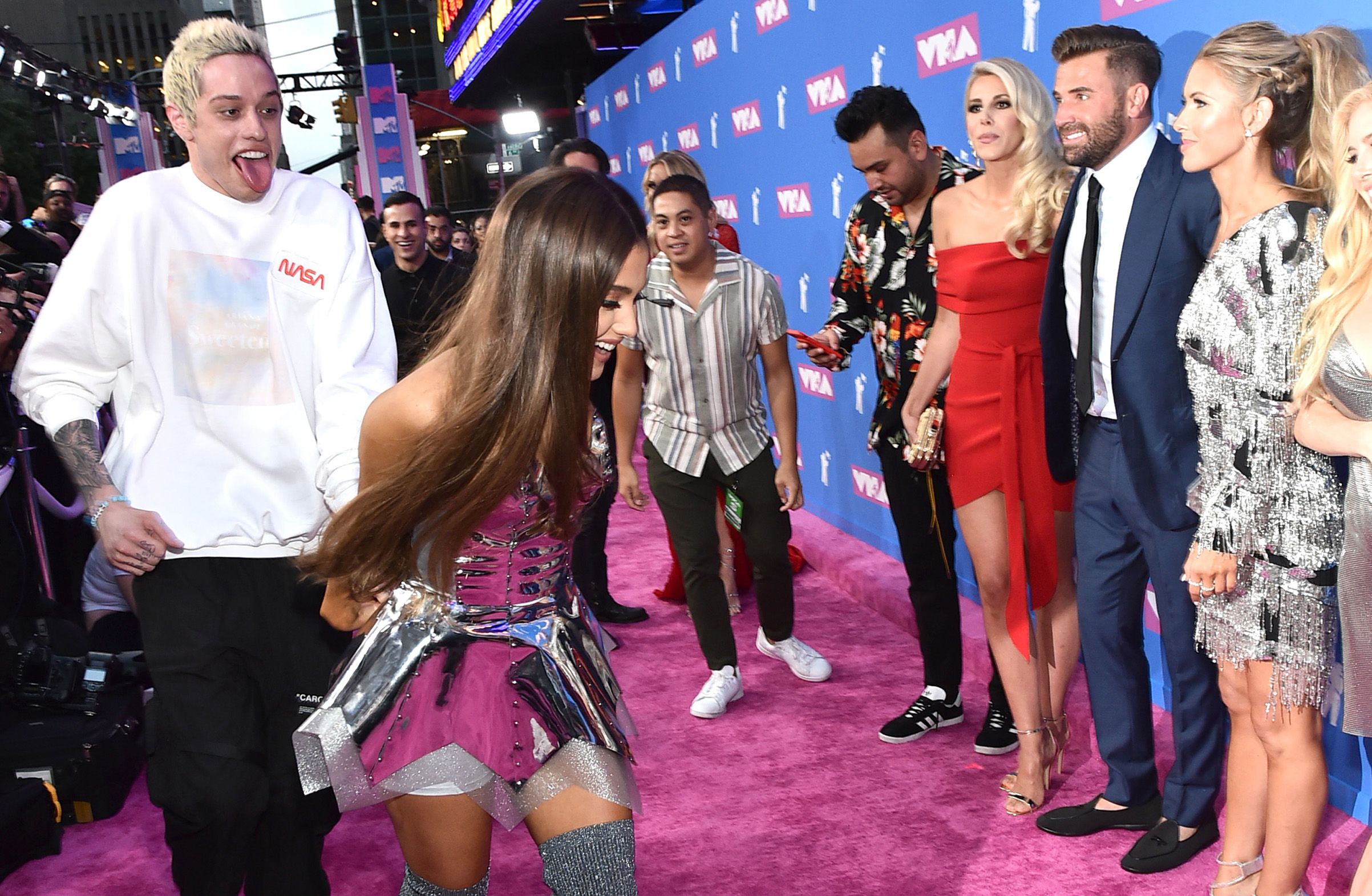 Pete Davidson and Ariana Grande attend the 2018 MTV Video Music Awards at Radio City Music Hall on in New York City on Aug. 20, 2018.