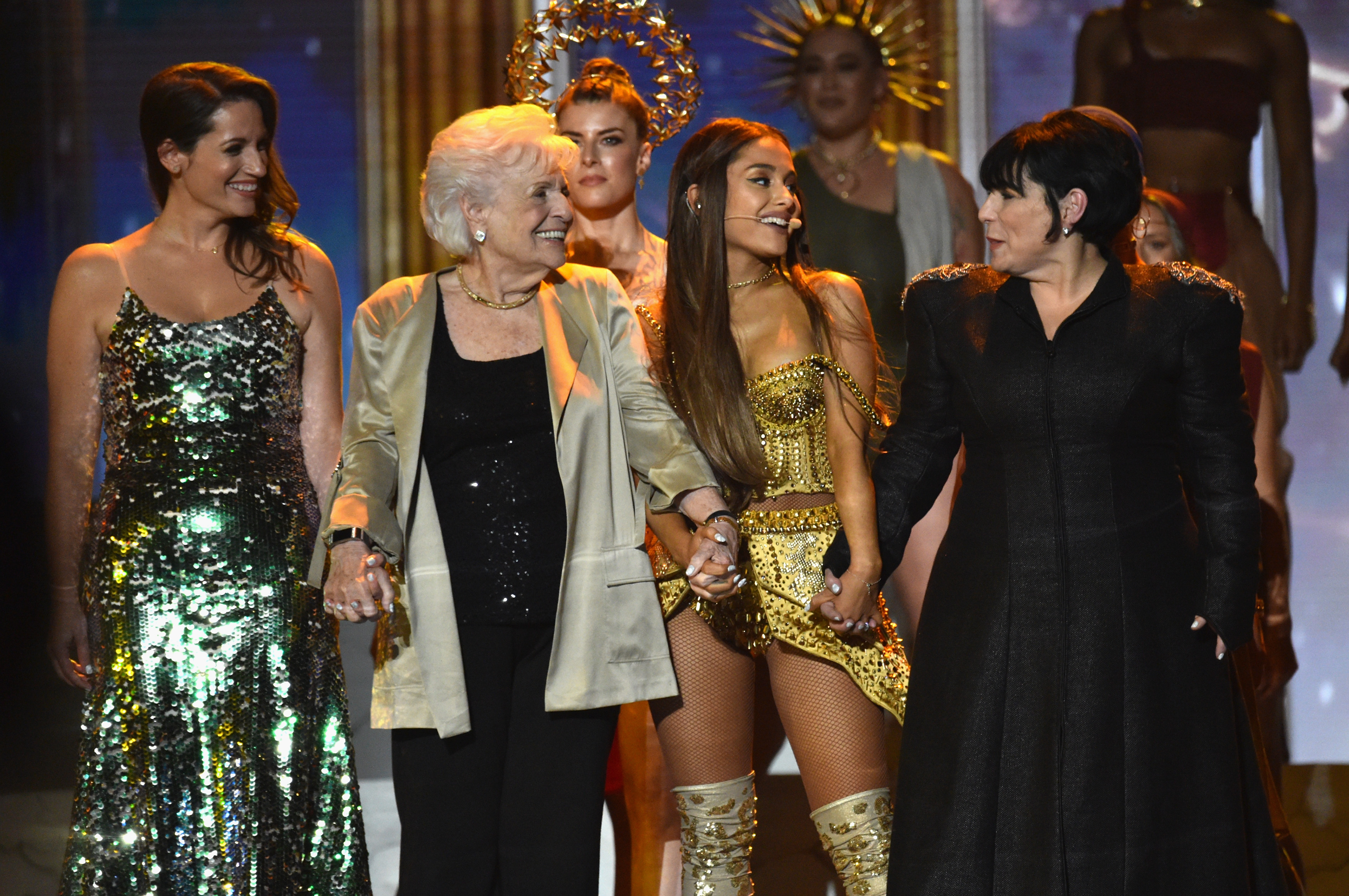 Lani Grande, Marjorie Grande, Ariana Grande, and Joan Grande  onstage during 2018 MTV Video Music Awards at Radio City Music Hall on August 20, 2018 in New York City.