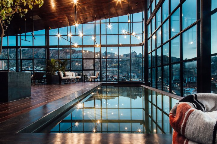 The Infinity Pool at Atix Hotel in La Paz, Bolivia