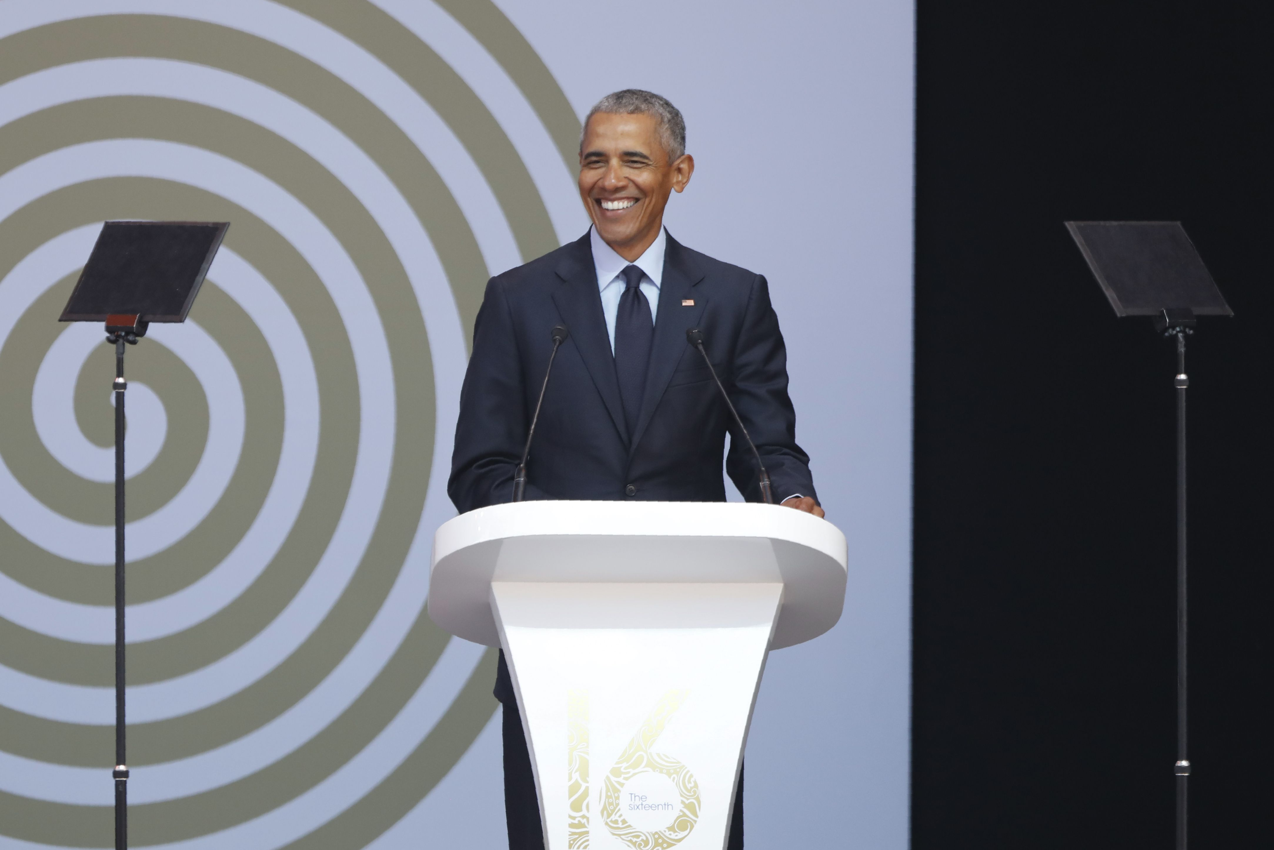 Barack Obama speaks during the 2018 Nelson Mandela Annual Lecture at the Wanderers cricket stadium in Johannesburg on July 17, 2018.