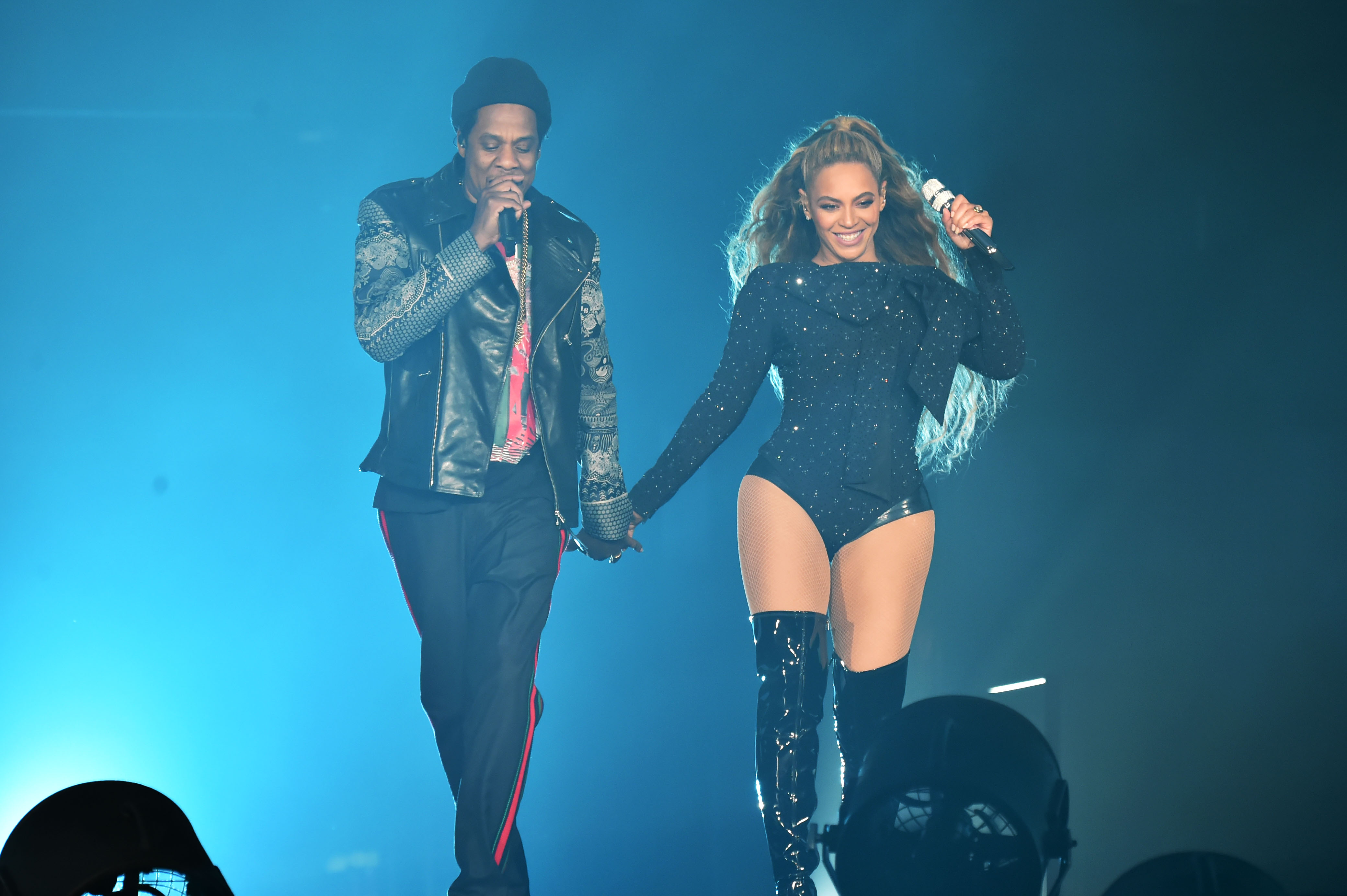 Beyonce and Jay-Z perform together holding hands on stage during the  On the Run II  Tour at Hampden Park on June 9, 2018 in Glasgow, Scotland.