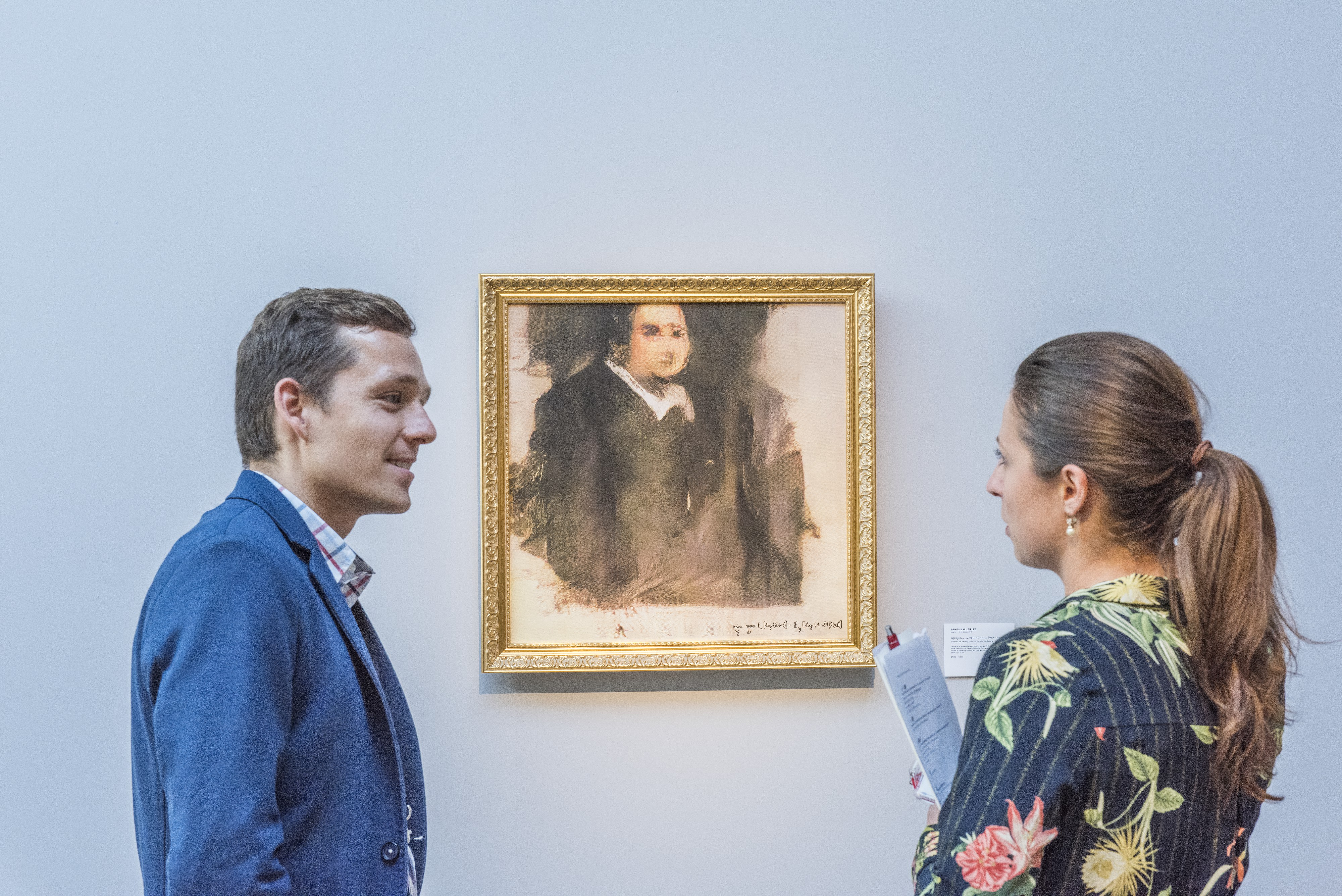 Edmond de Belamy, which goes on sale at Christie's in New York in October, hangs in the auction house's London Gallery in July