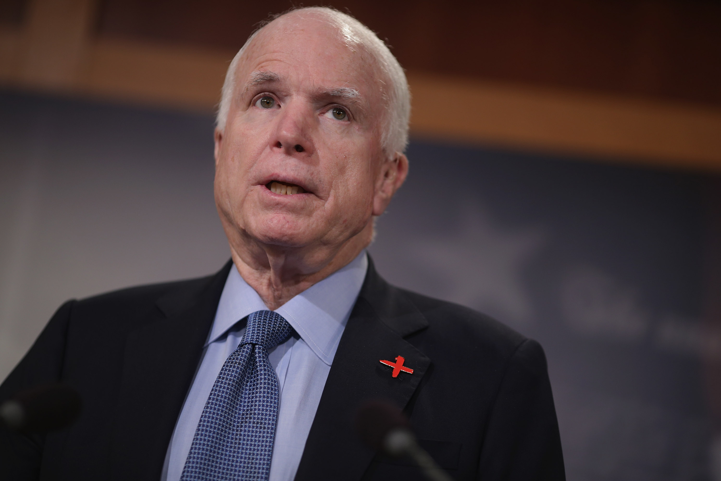 John McCain speaks at a news conference at the U.S. Capitol in Washington, DC on February 24, 2016.