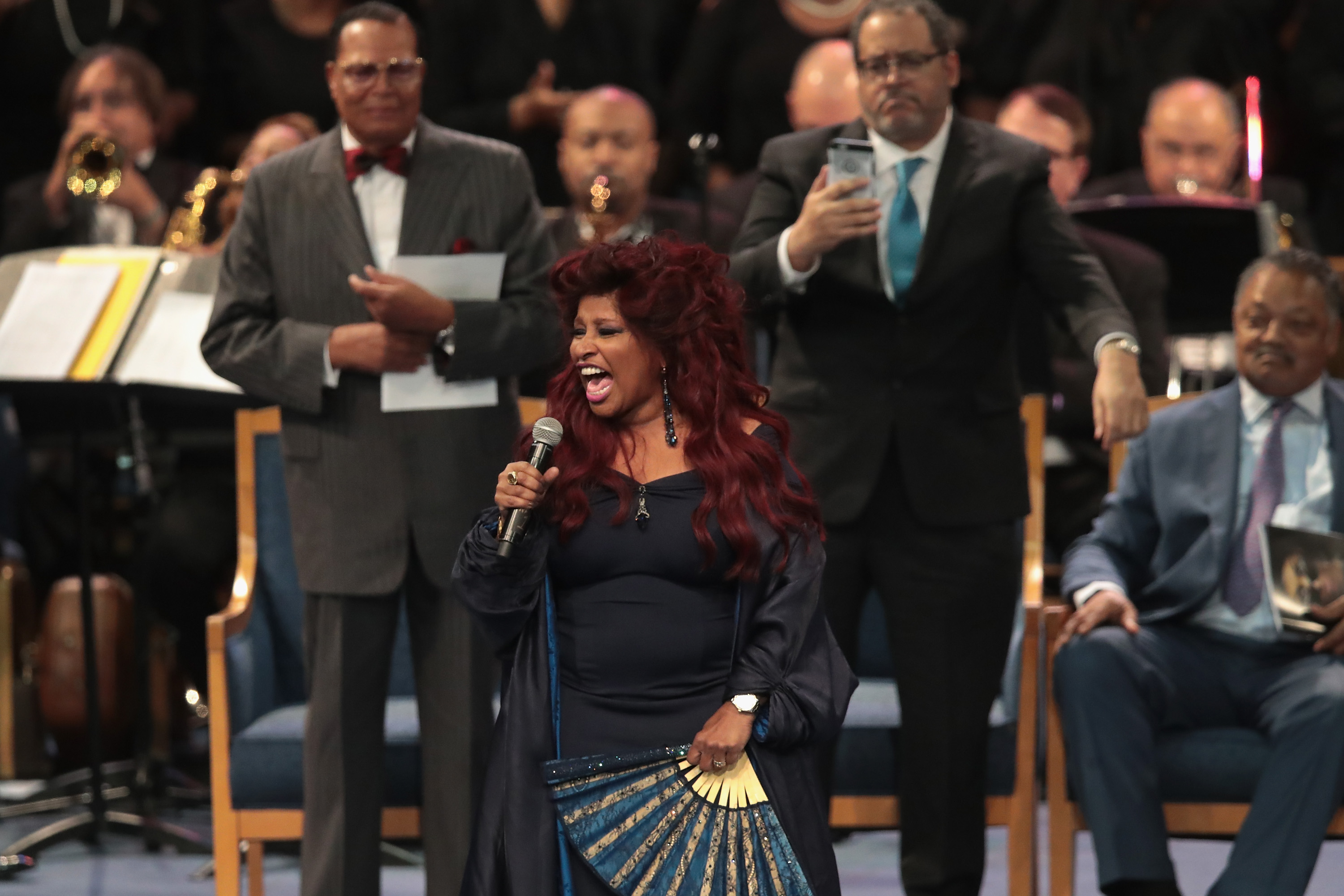 Singer Chaka Khan performs at the funeral for Aretha Franklin at the Greater Grace Temple on August 31, 2018 in Detroit, Michigan.