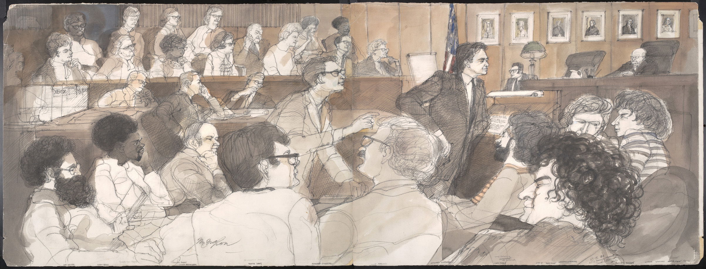 Panoramic view of courtroom with the defendants, prosecutors, jury, and judge, in a courtroom illustration (by Franklin McMahon) during the trial of the Chicago Eight, Chicago, Illinois, late 1969 or early 1970.