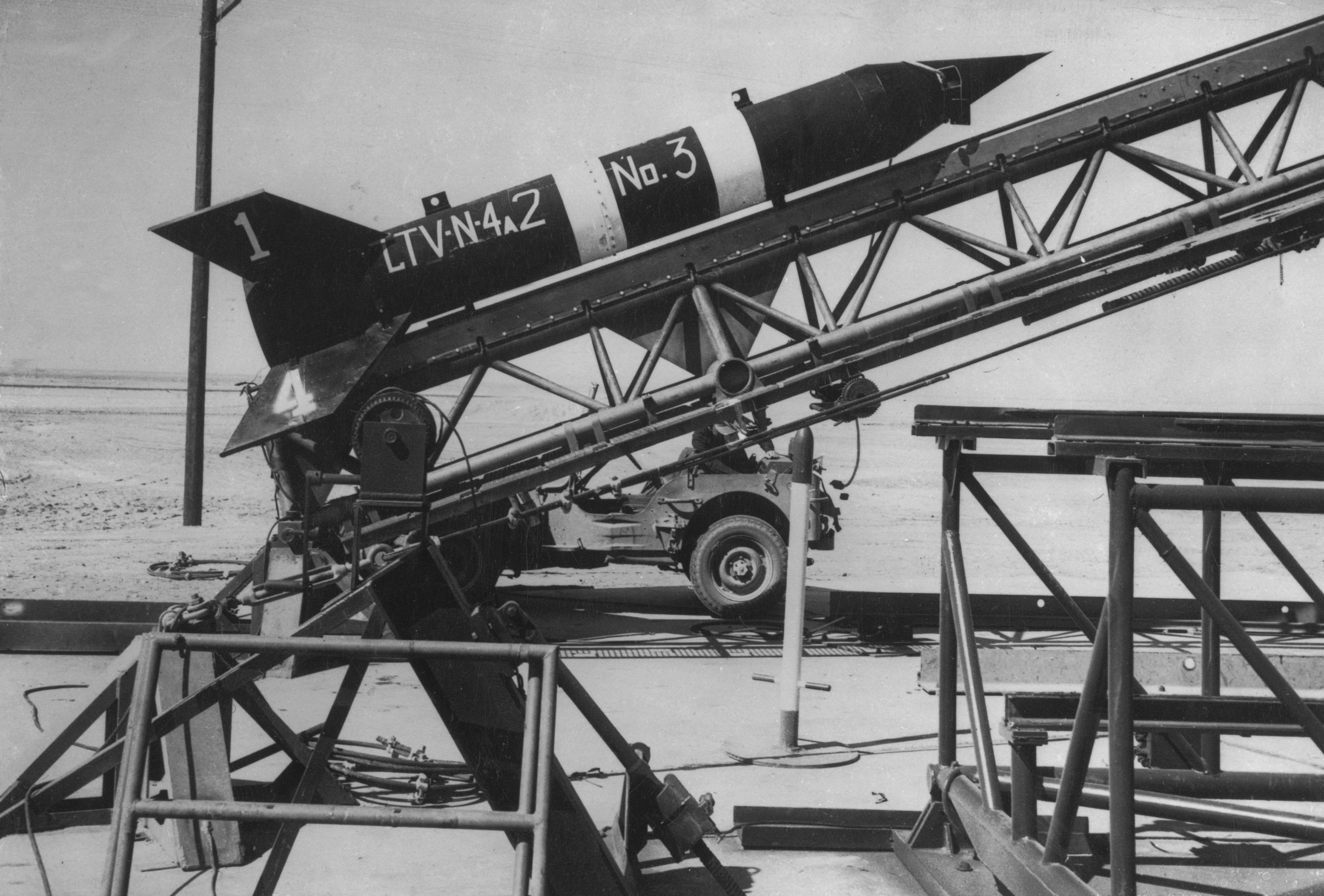 A newly-developed  rocket on a launching ramp at the Naval Ordnance Test Station at China Lake, Calif., Feb. 12, 1949.