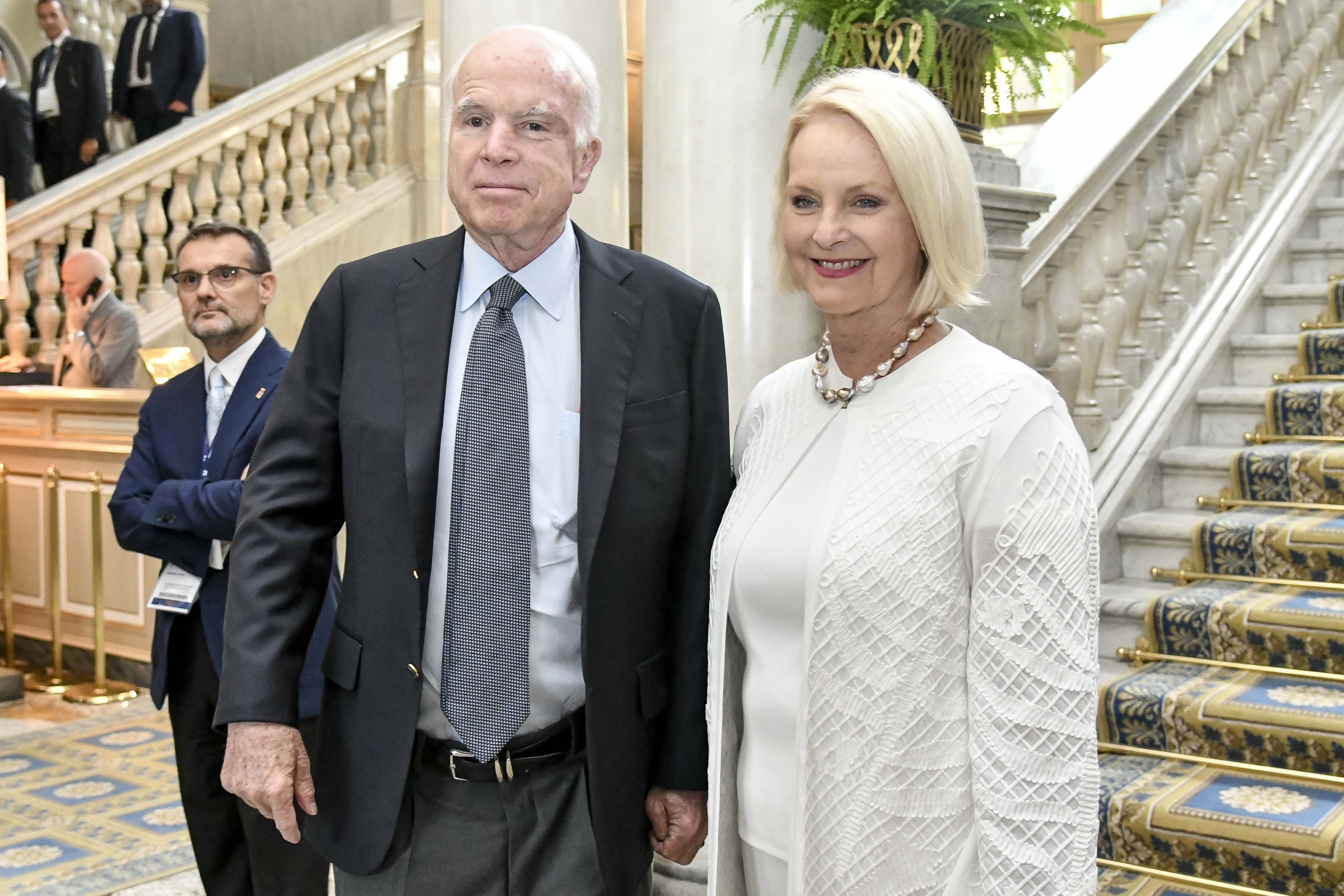 John McCain and Cindy McCain at the 43rd edition of the Ambrosetti European House Forum in Cernobbio, Italy on Sep. 1, 2017.