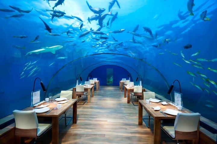 The underwater restaurant at Conrad Maldives hotel on Rangali Island