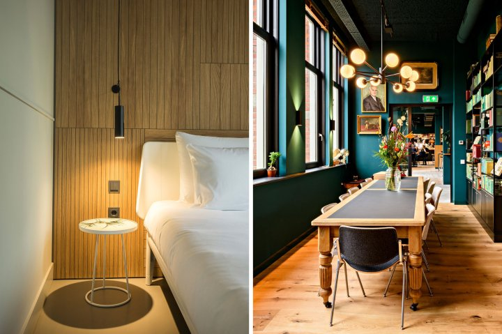 Interior details of the Conscious Hotel in Westerpark Amsterdam