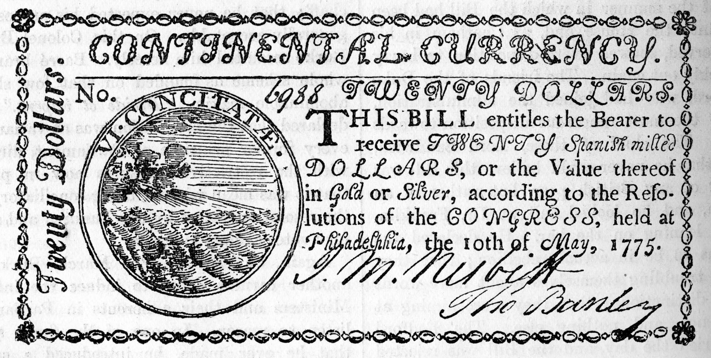Twenty dollars of Continental Currency, 1775.