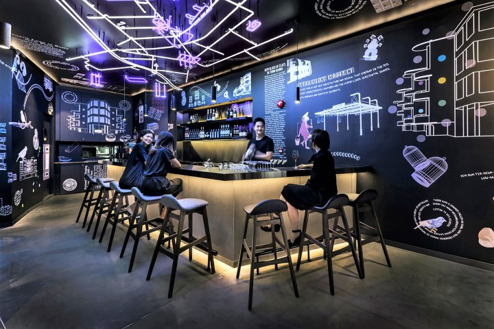 A bar at the COO hostel in Singapore