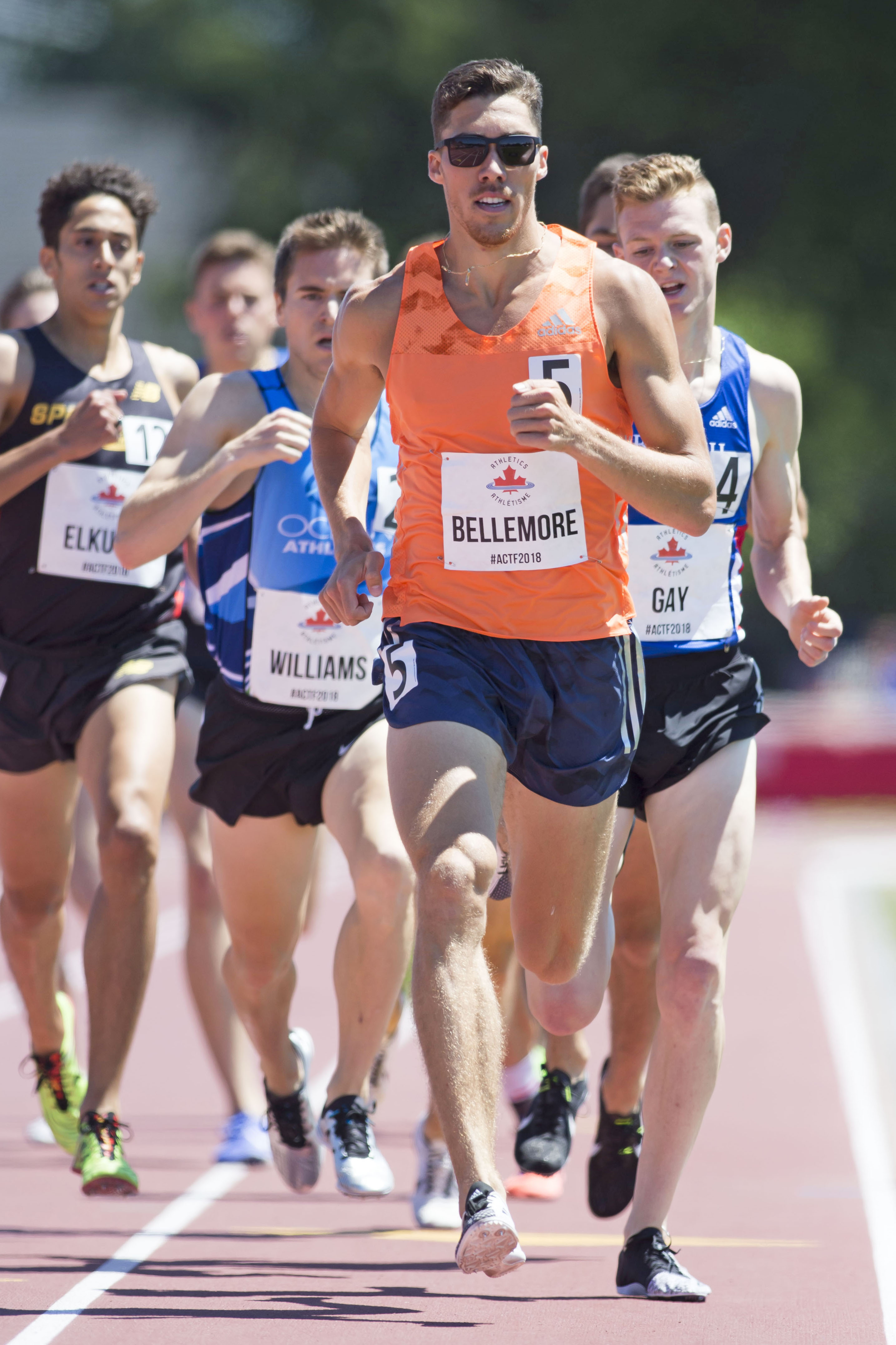 World beer mile record holder Corey Bellemore runs in the 1500m semi-final at the 2018 Athletics Canada National Track and Field Championships on July 07, 2018.